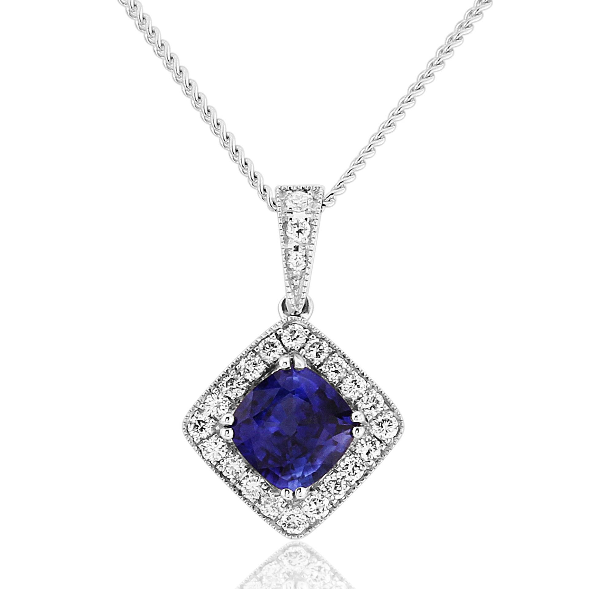 18ct White Gold Round Sapphire and Diamond Off Square Pendant