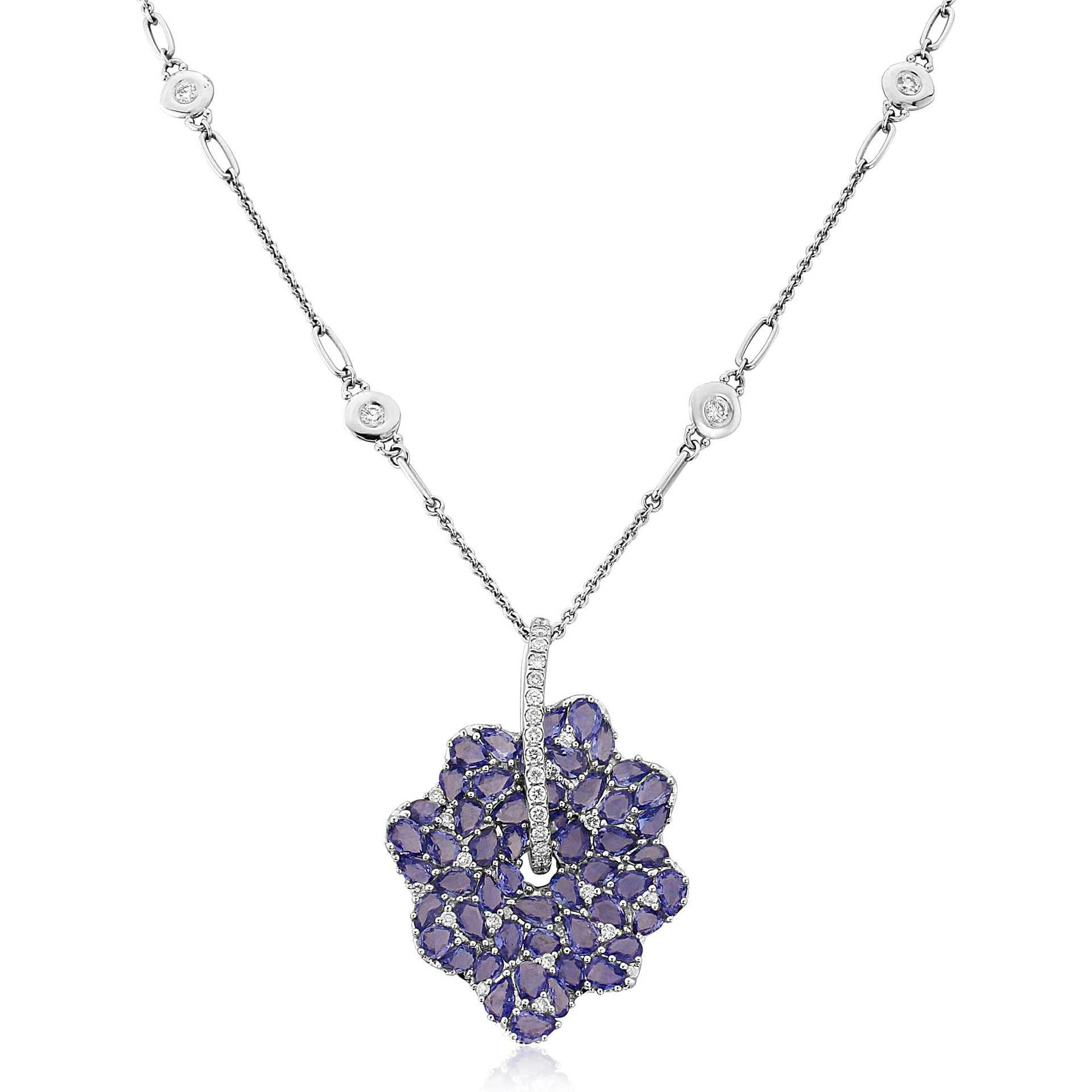 18ct White Gold Sapphire and Diamond Pendant and Chain