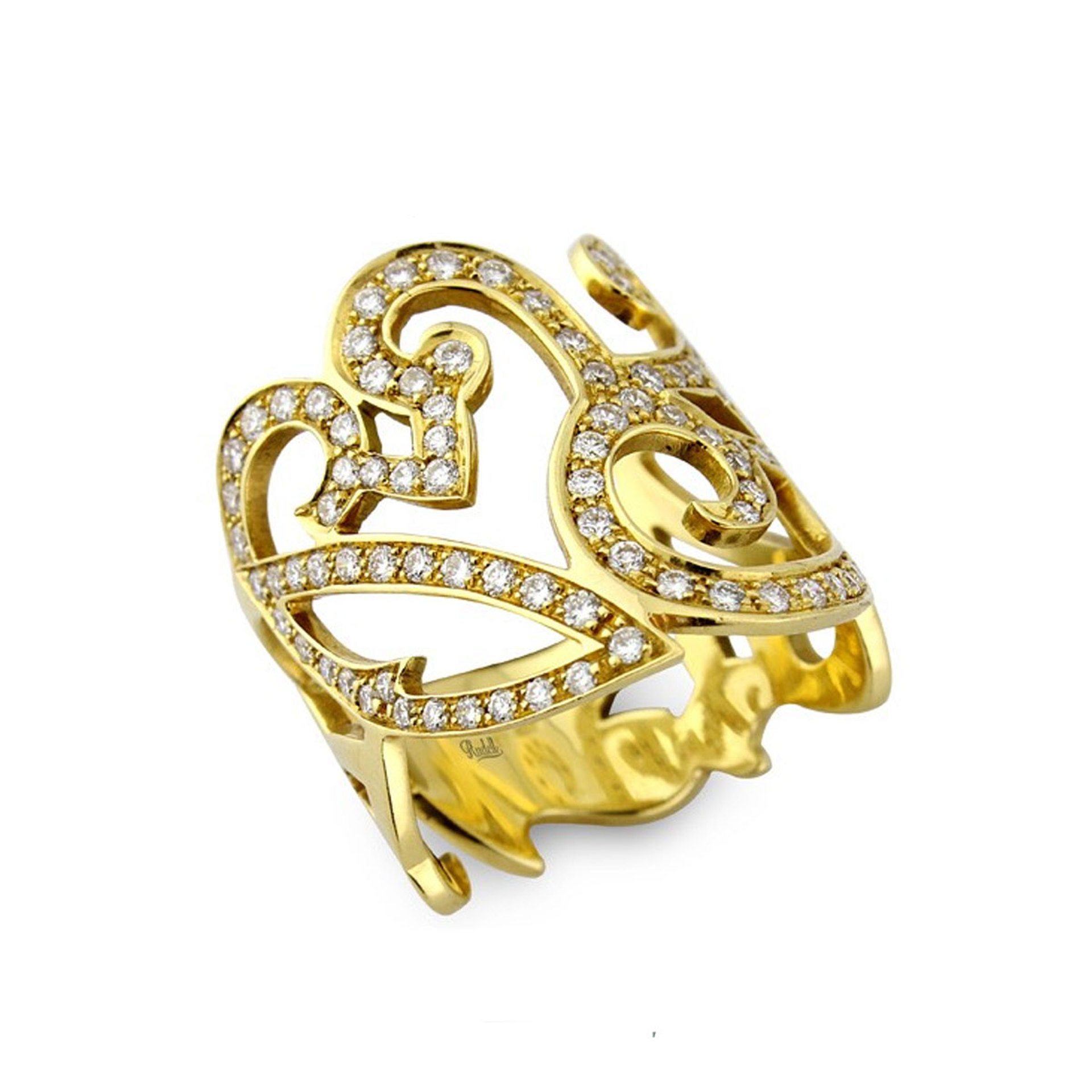 18ct Yellow Gold Wide Ornate Swirl Diamond Ring