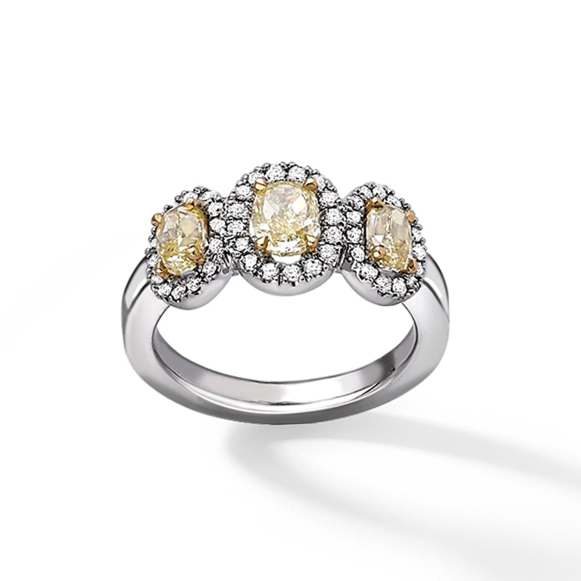 18ct white gold oval yellow diamond cluster ring