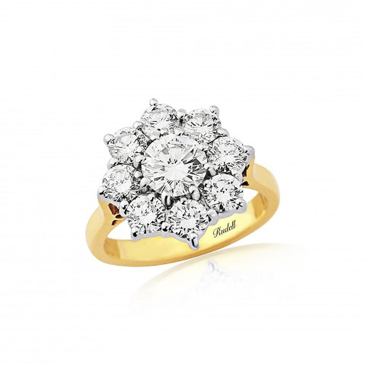 18ct Yellow Gold Brilliant diamond cluster ring