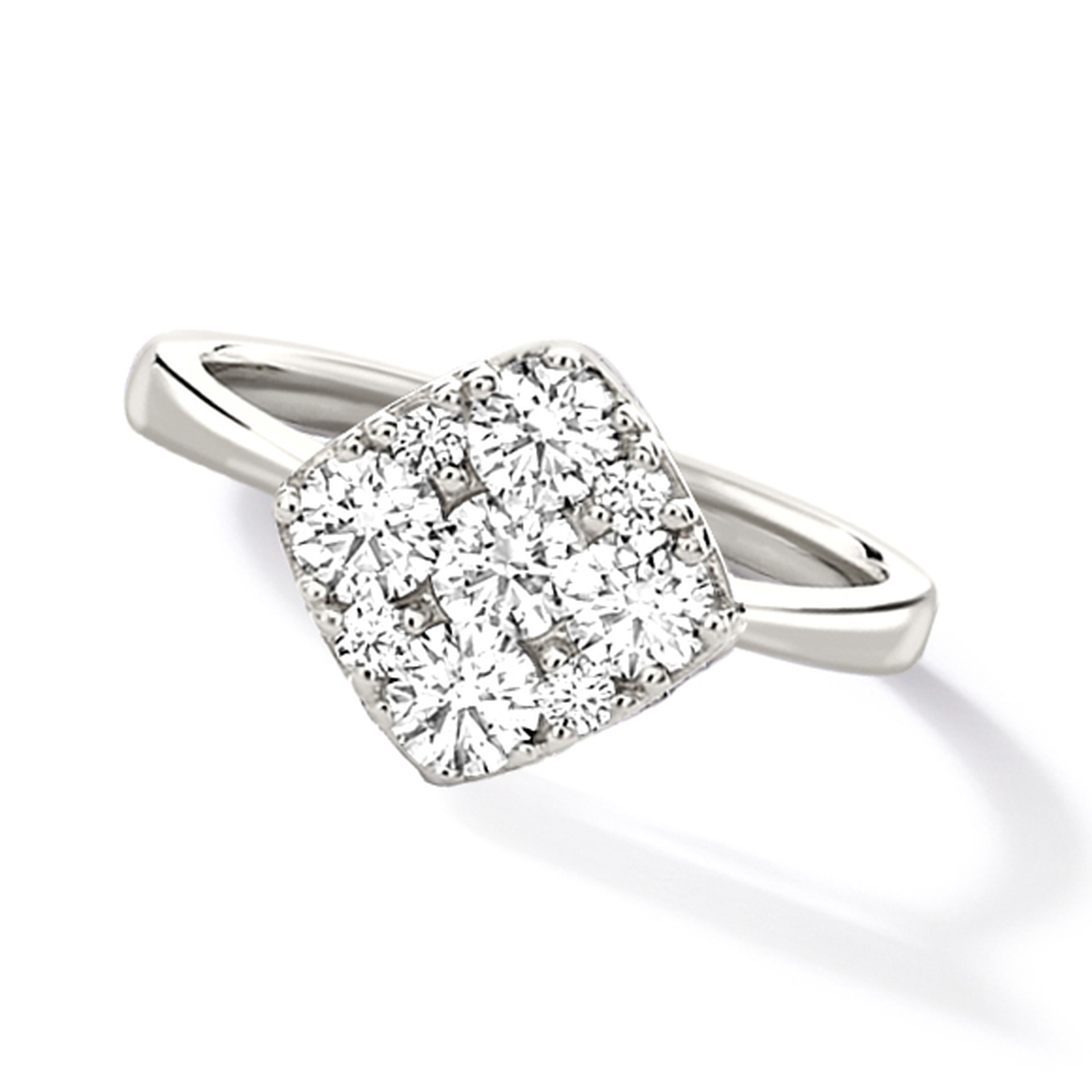 18ct White gold square Daisy 0.50ct diamond set ring