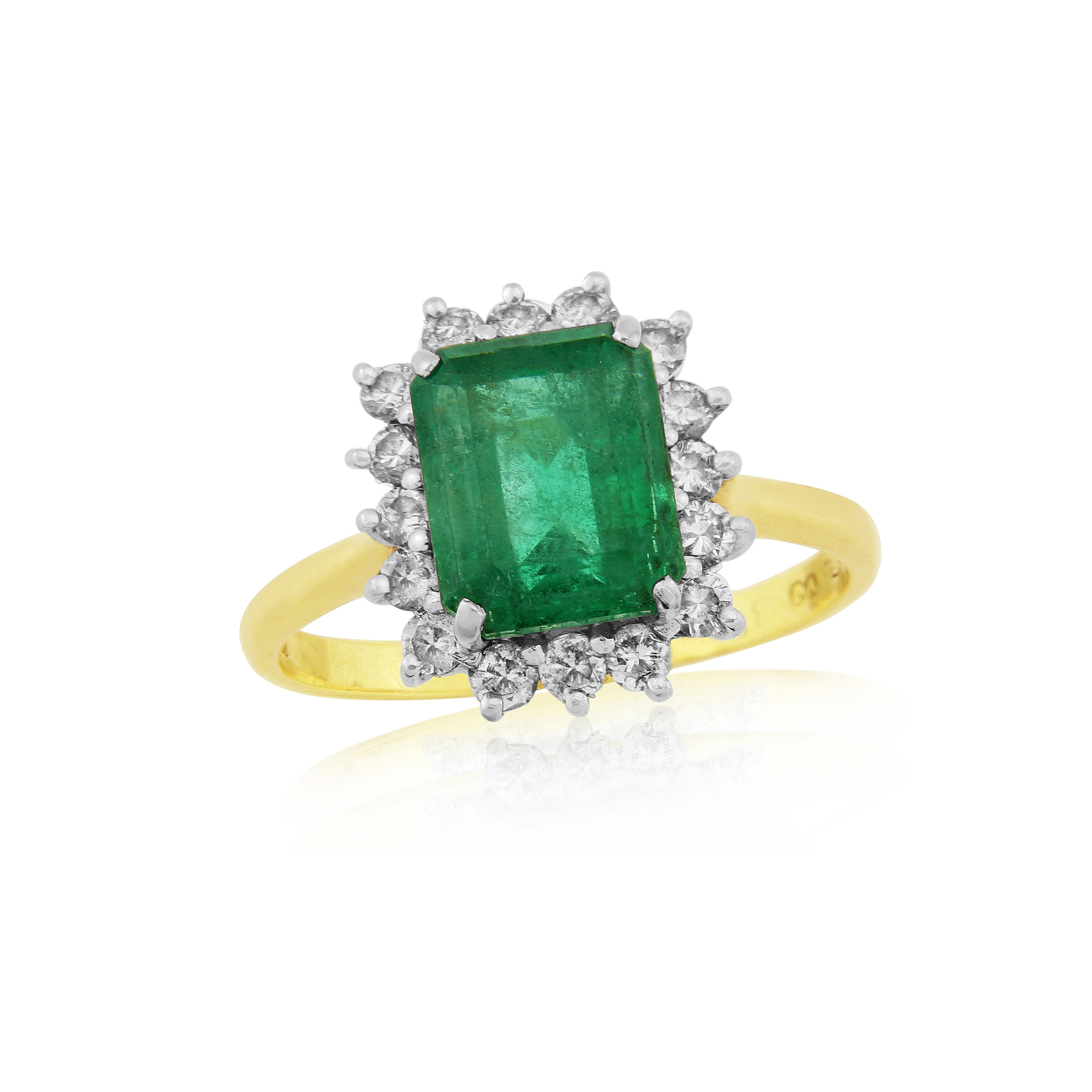 Previously Owned 18ct yellow gold emerald and diamond ring