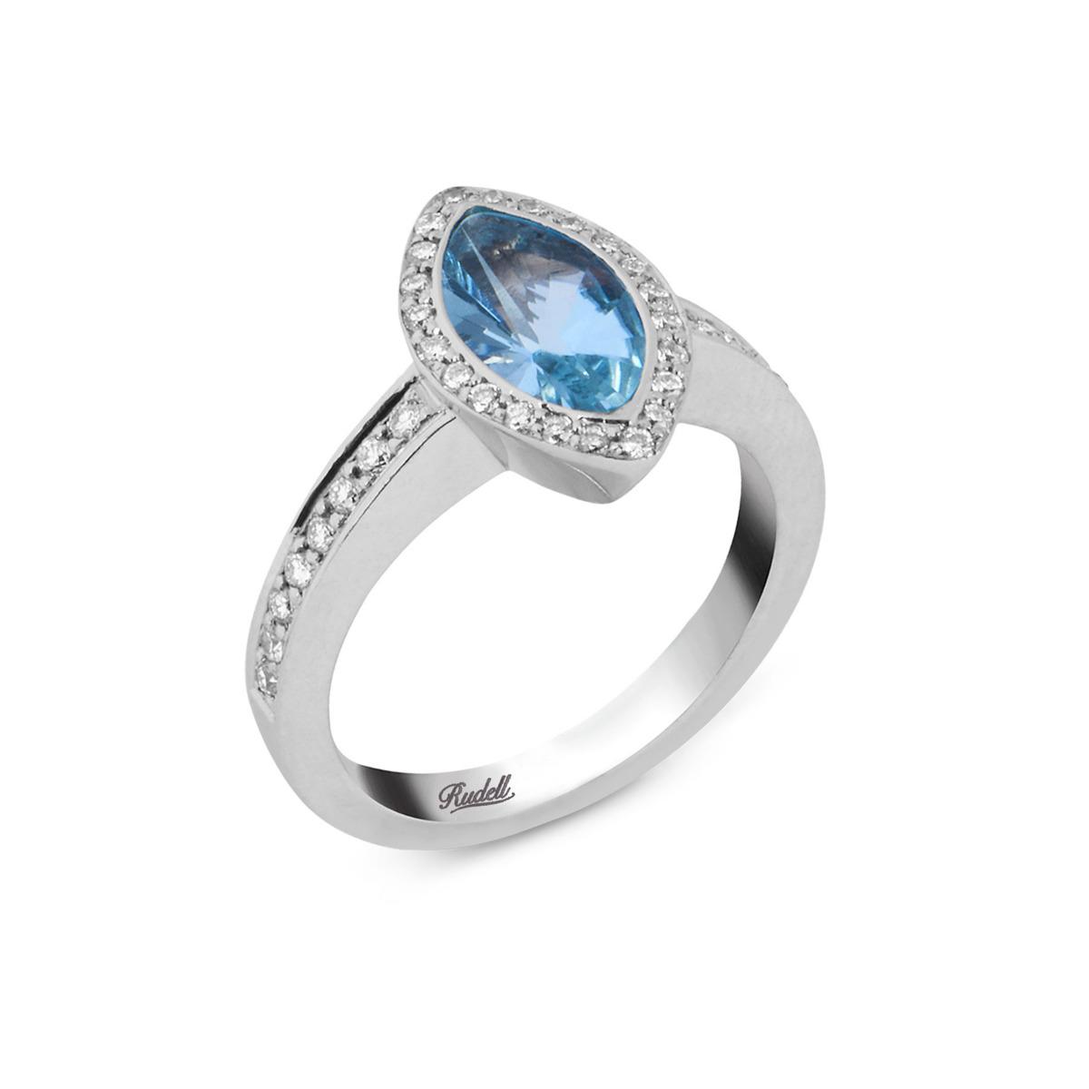 18ct White Gold Blue Topaz and Diamond Dress Ring