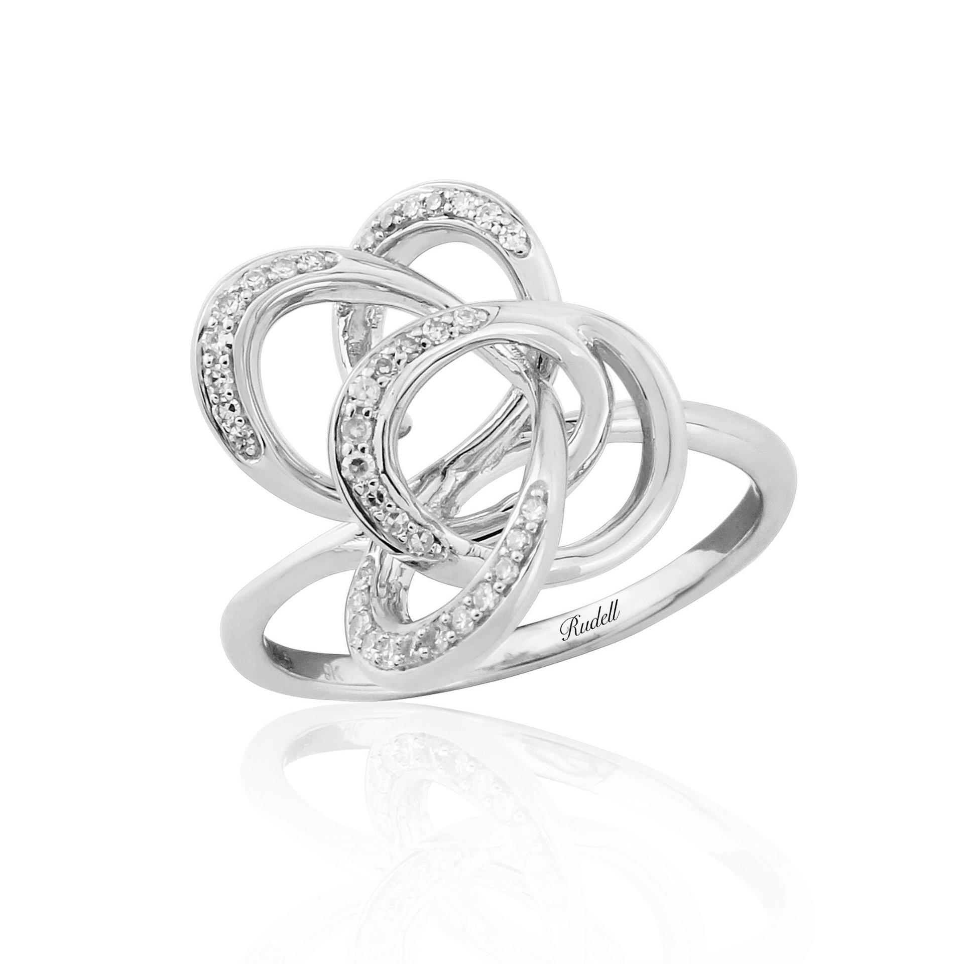 9ct White Gold Fancy Diamond Set Ring