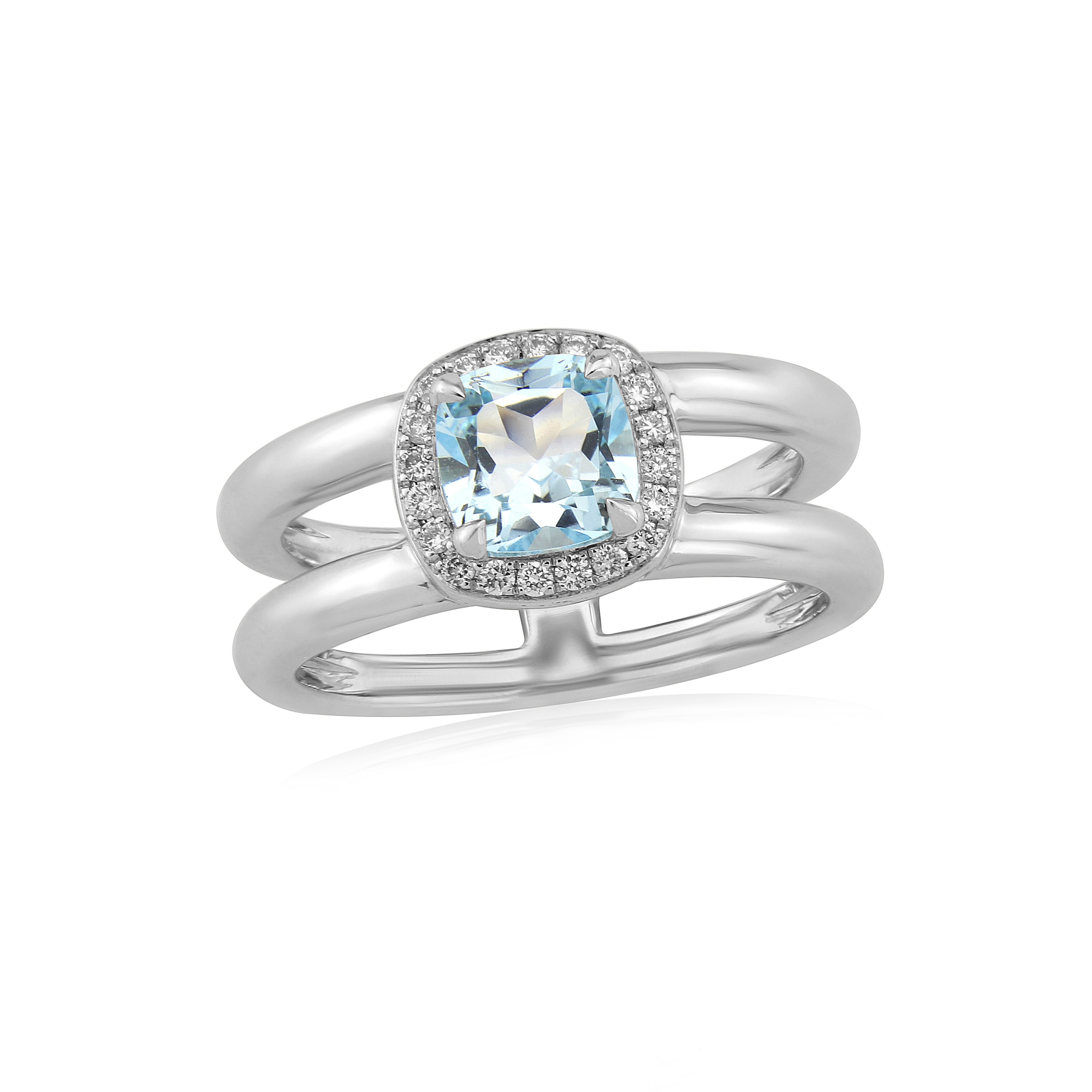 Twin collection 9ct White gold Blue Topaz and diamond set ring