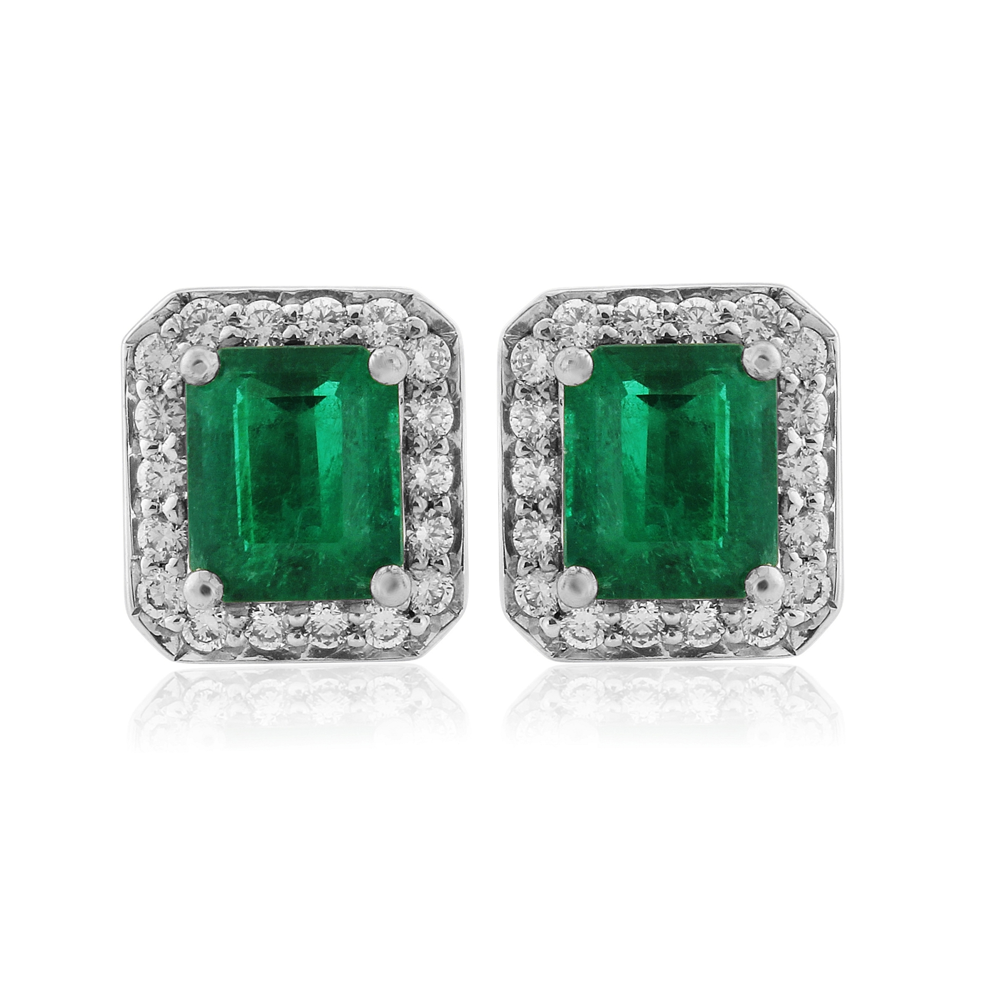 18ct White Gold Octagonal Emerald and Diamond Earrings
