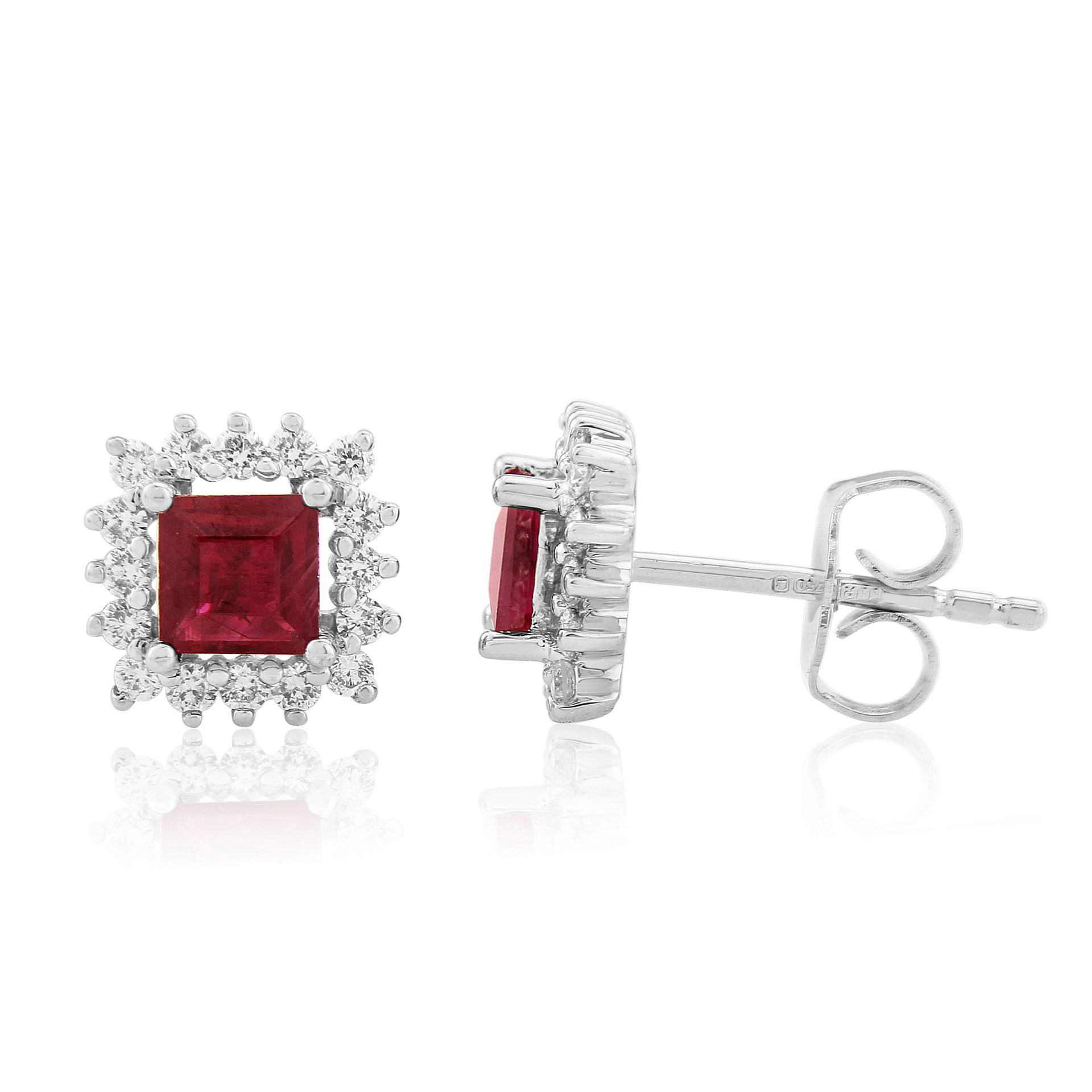 18ct White Gold Square Ruby, Diamond Cluster Earring