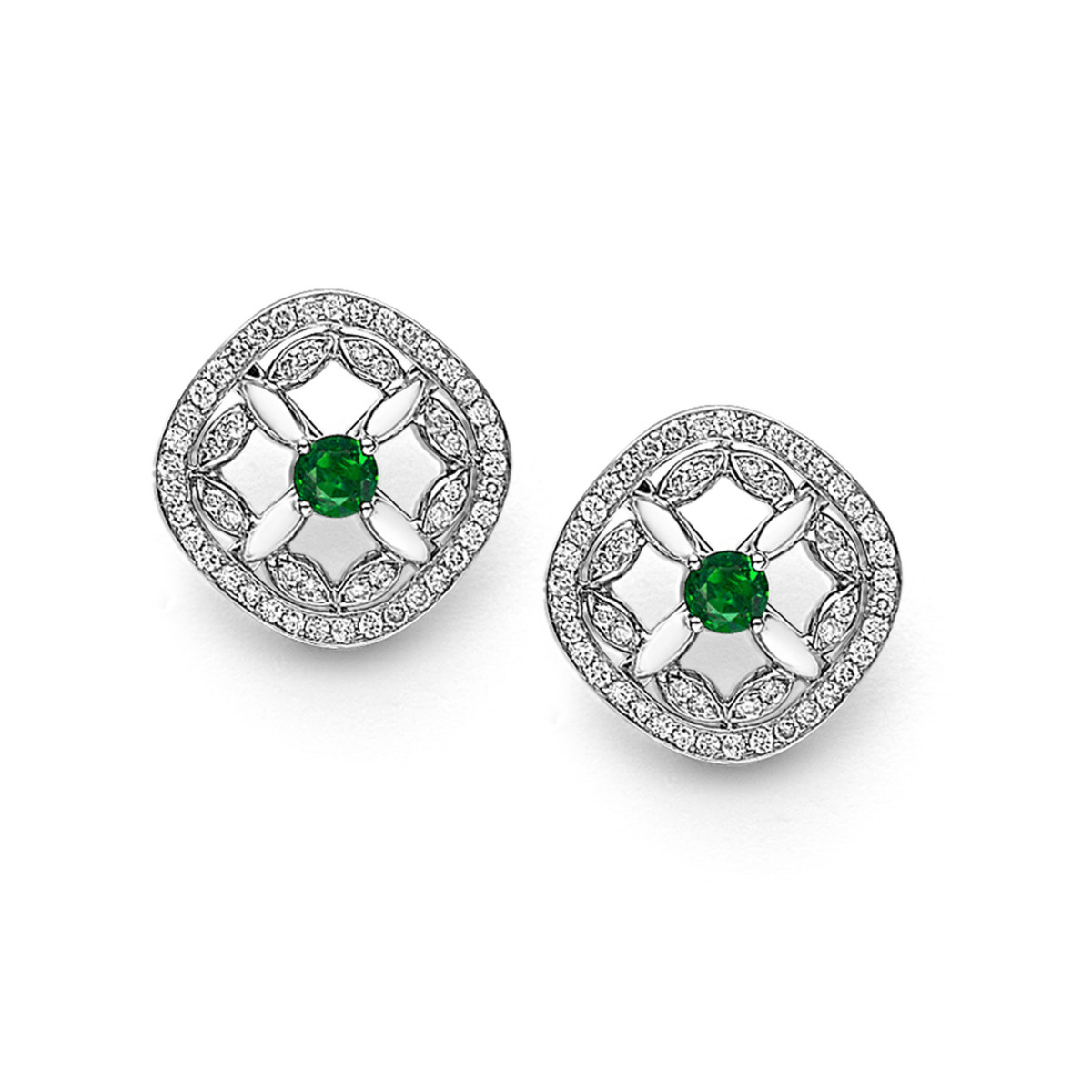 Petal Collection 18ct White Gold Petal Diamond and Emerald Set Earrings