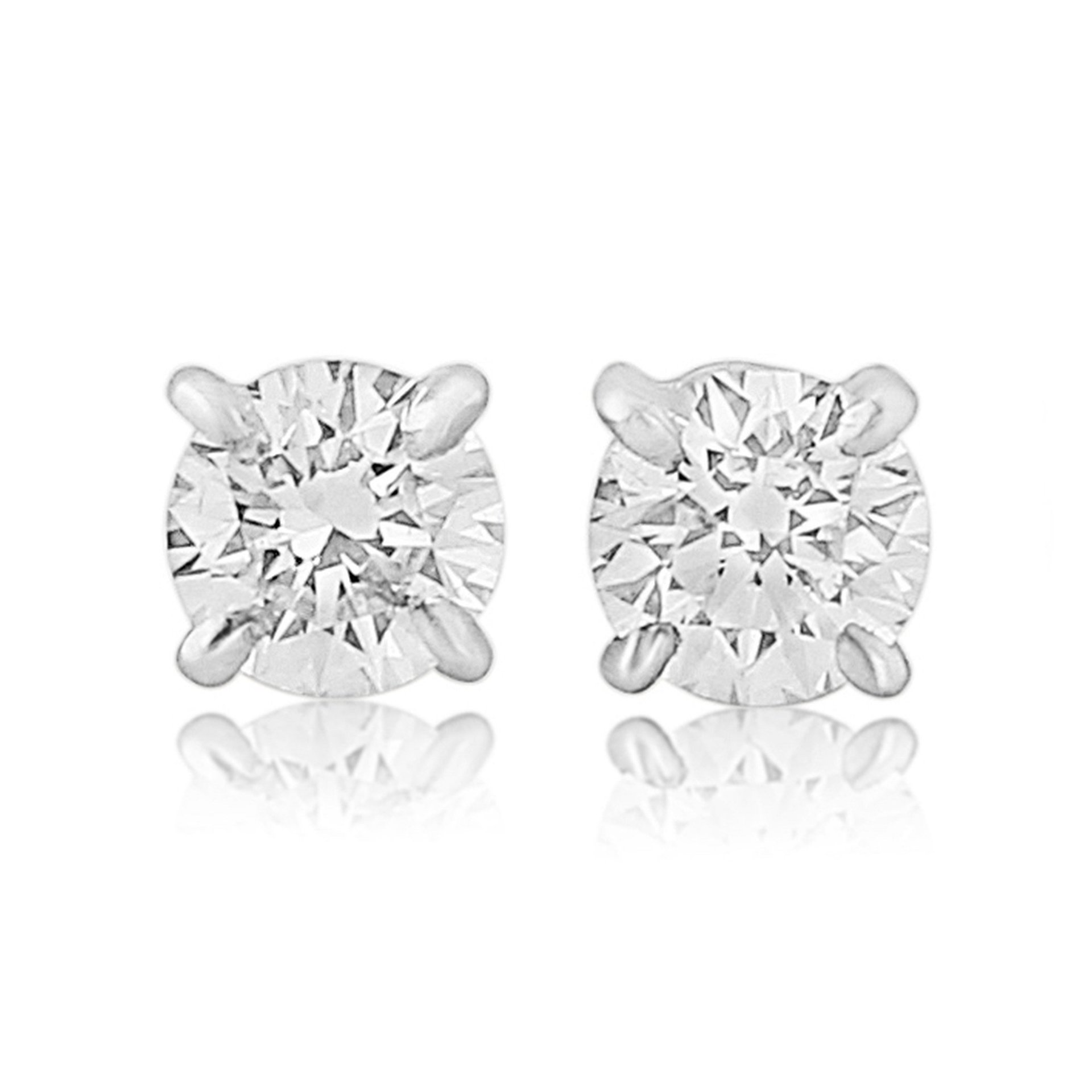 18ct White Gold Single Stone Diamond Earrings 0.20ct