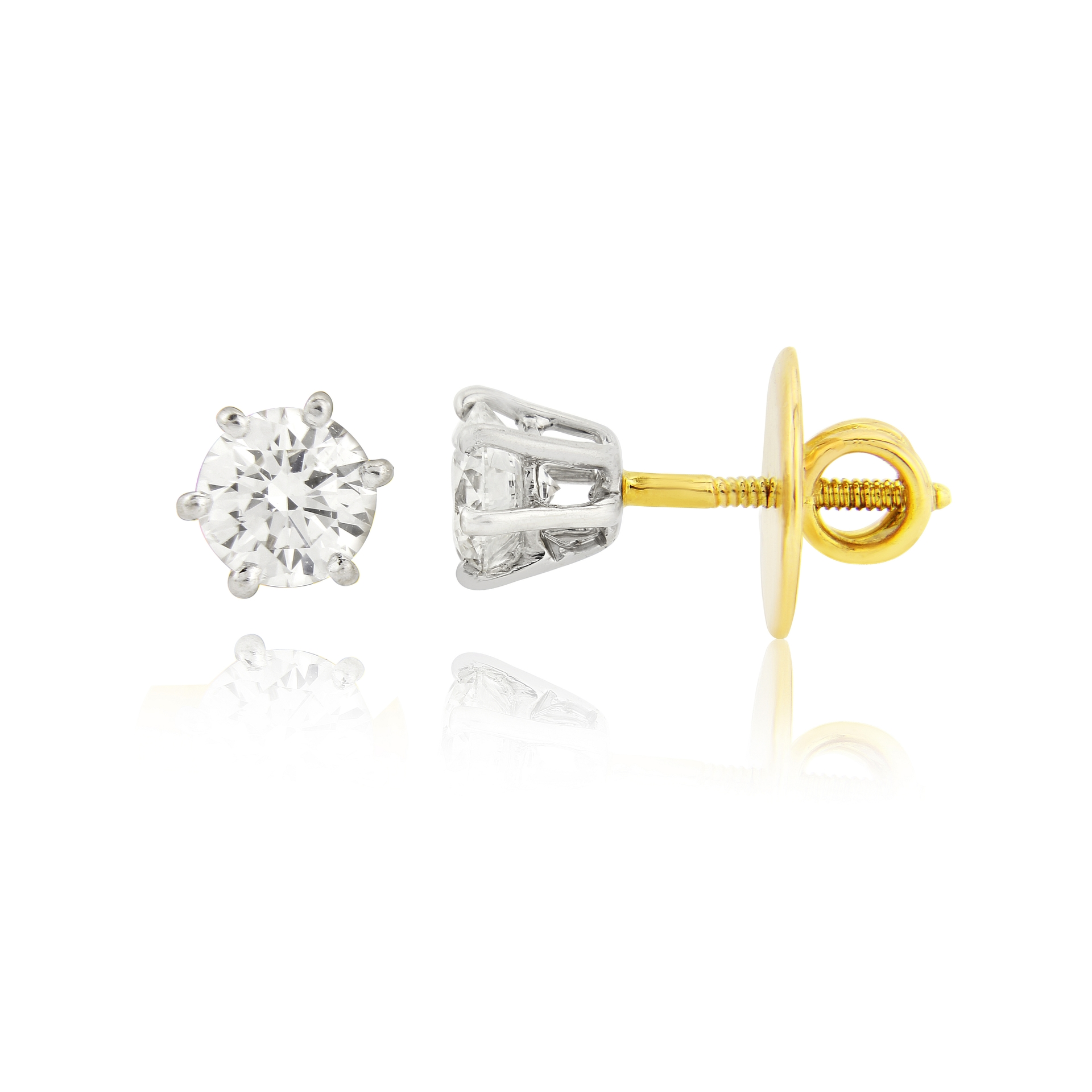 Previously Owned 14ct White and yellow gold diamond earrings