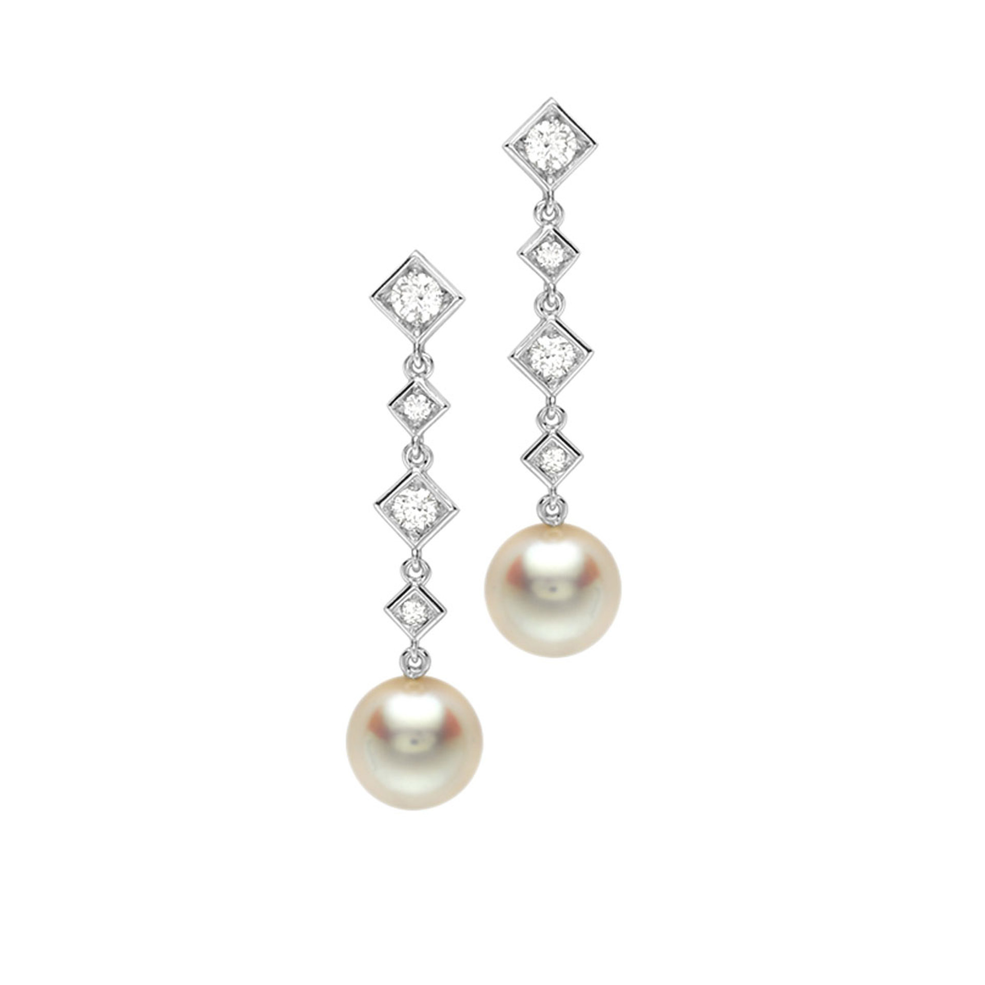 18ct White Gold, Pearl and Diamond Drop Earrings