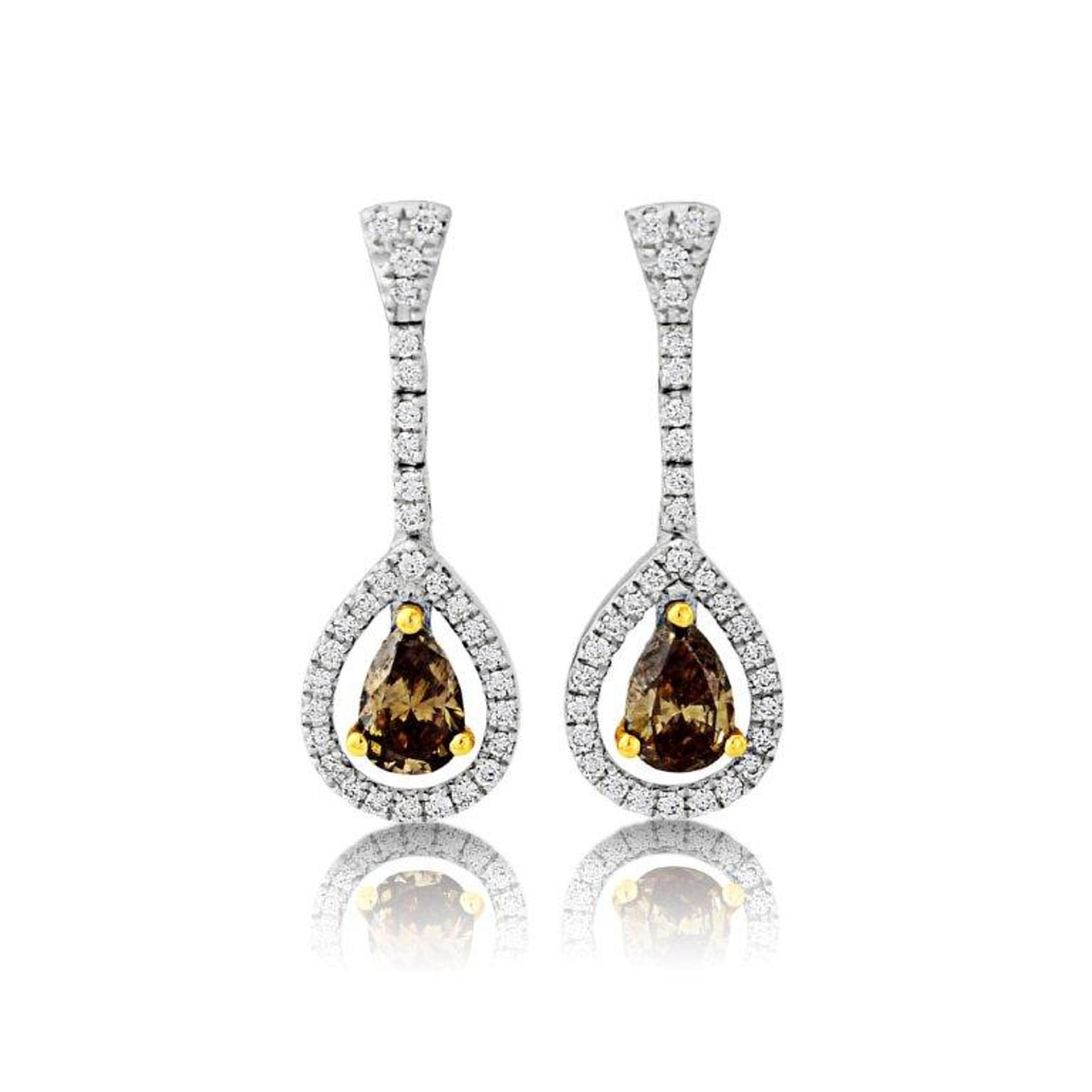 18ct white gold cognac and white diamond drop earrings