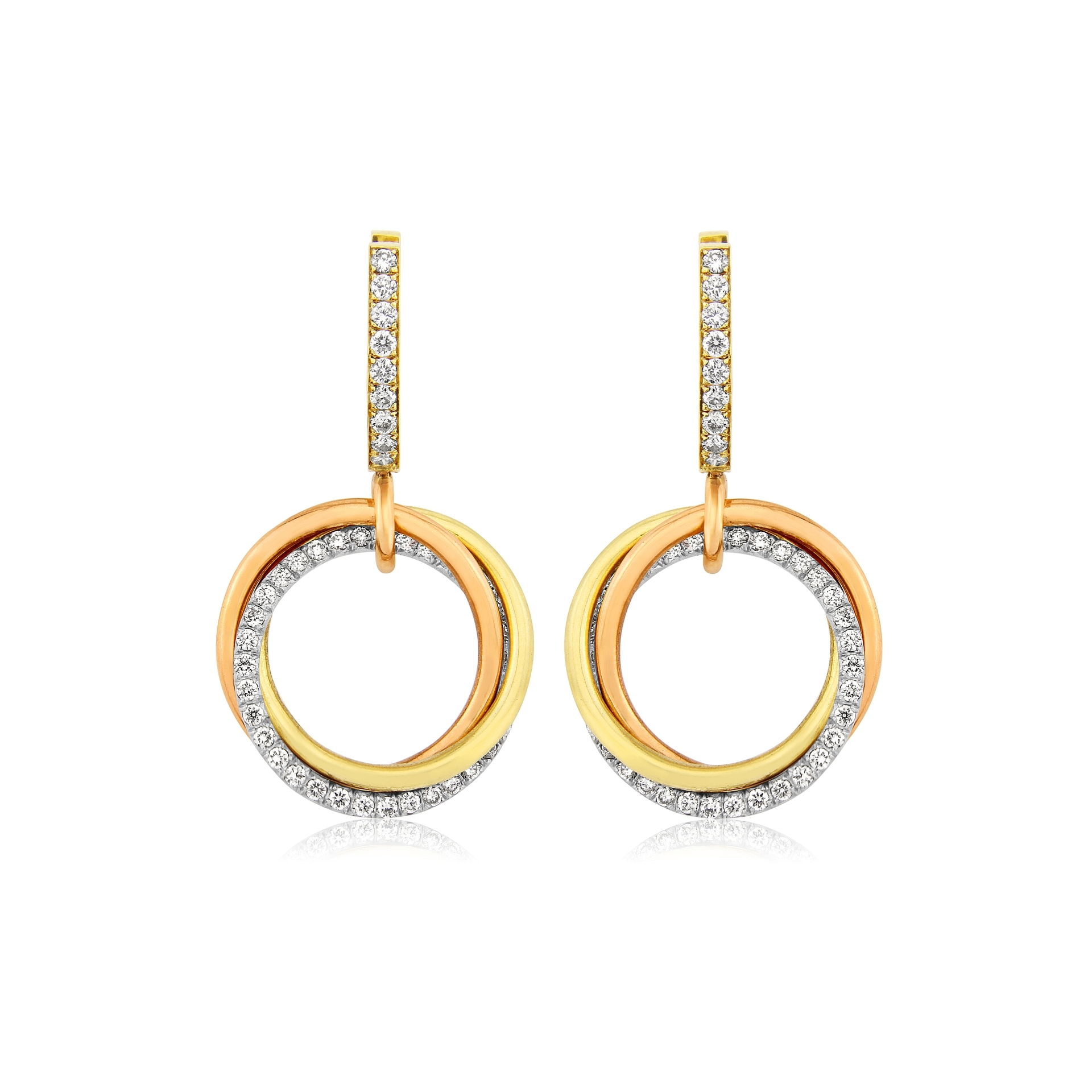 18ct Yellow Gold 3 Colour Circles, Diamond Set Earrings
