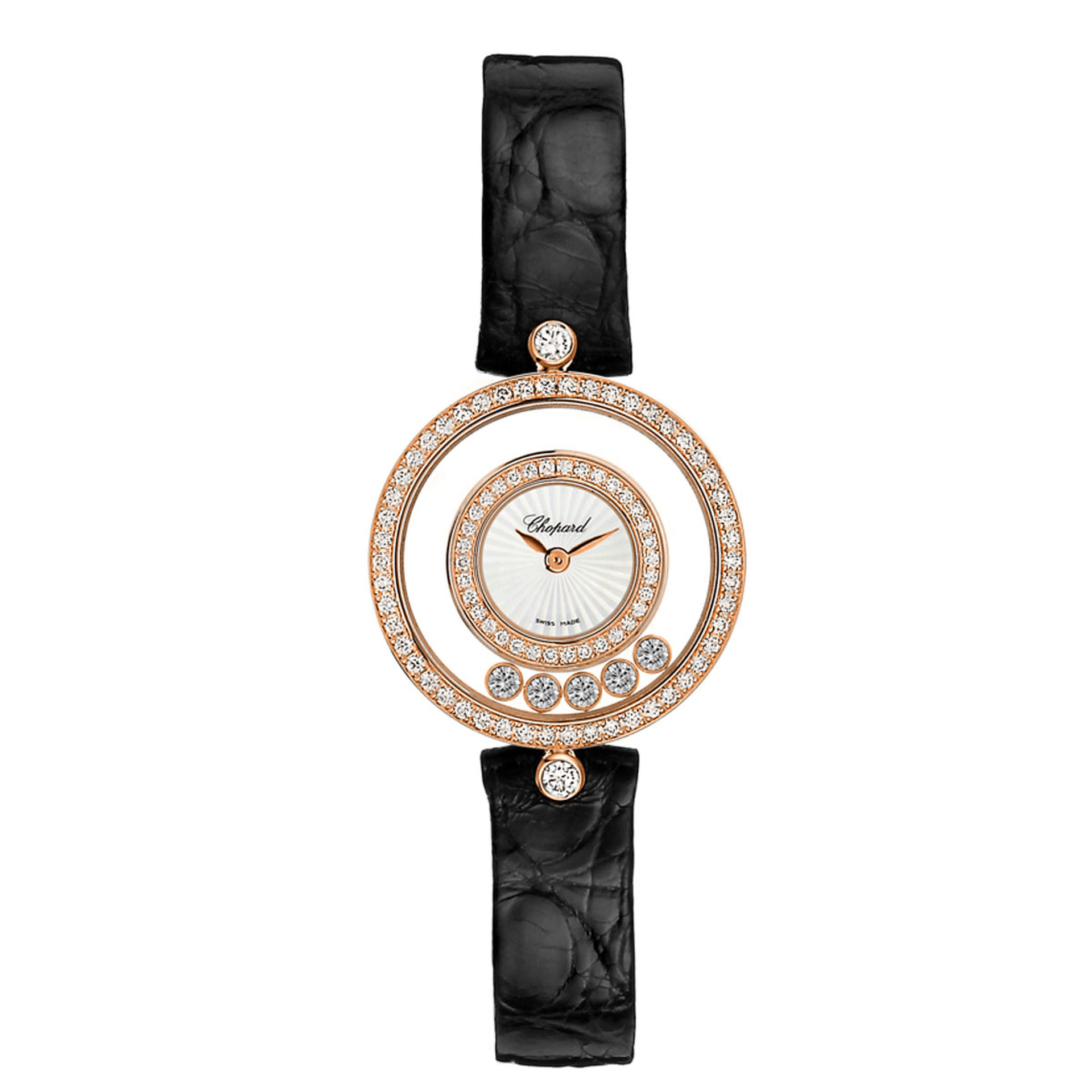 Chopard Ladies Diamond Set Happy Diamonds Strap Watch