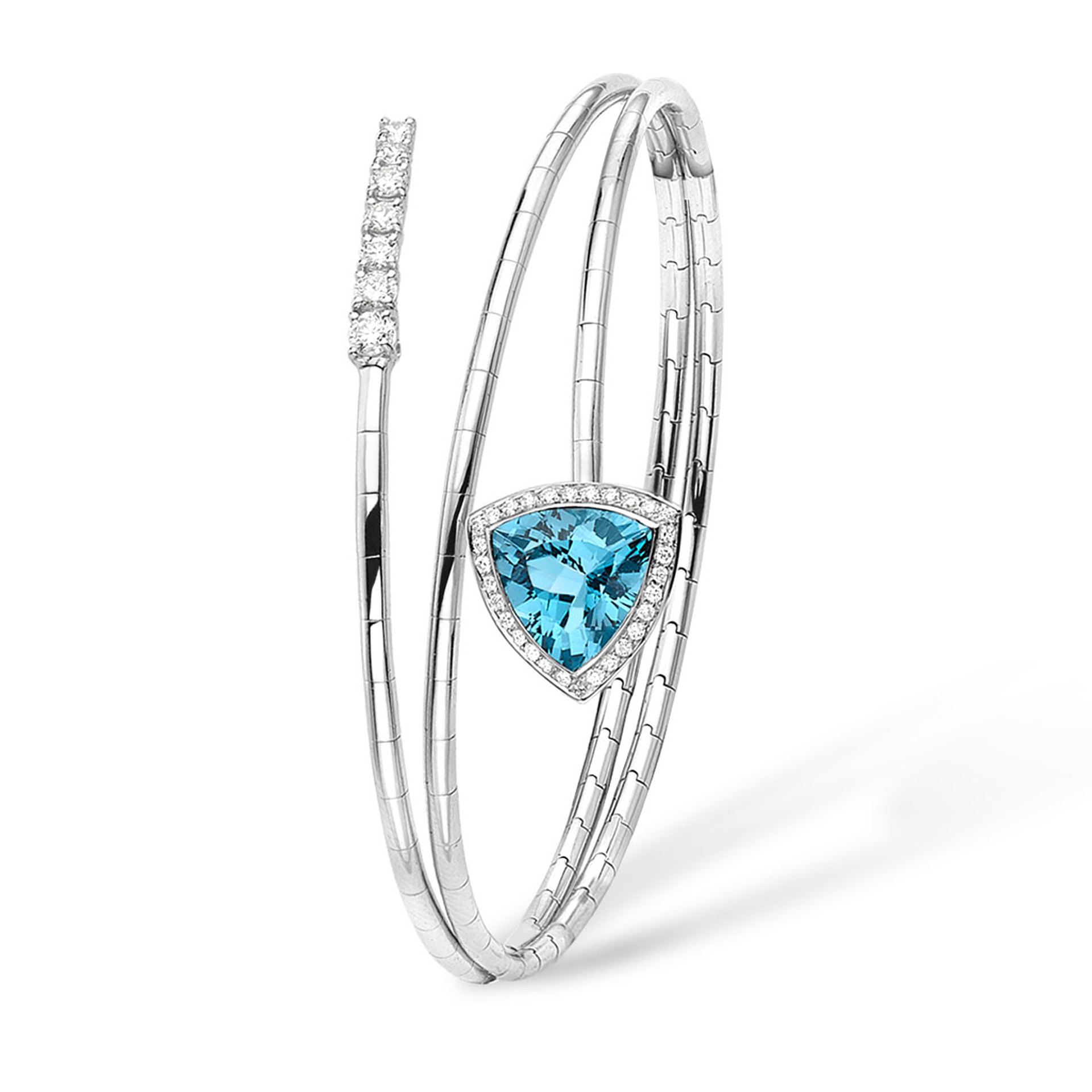 18ct White gold, Blue topaz and Diamond set sprung Bangle