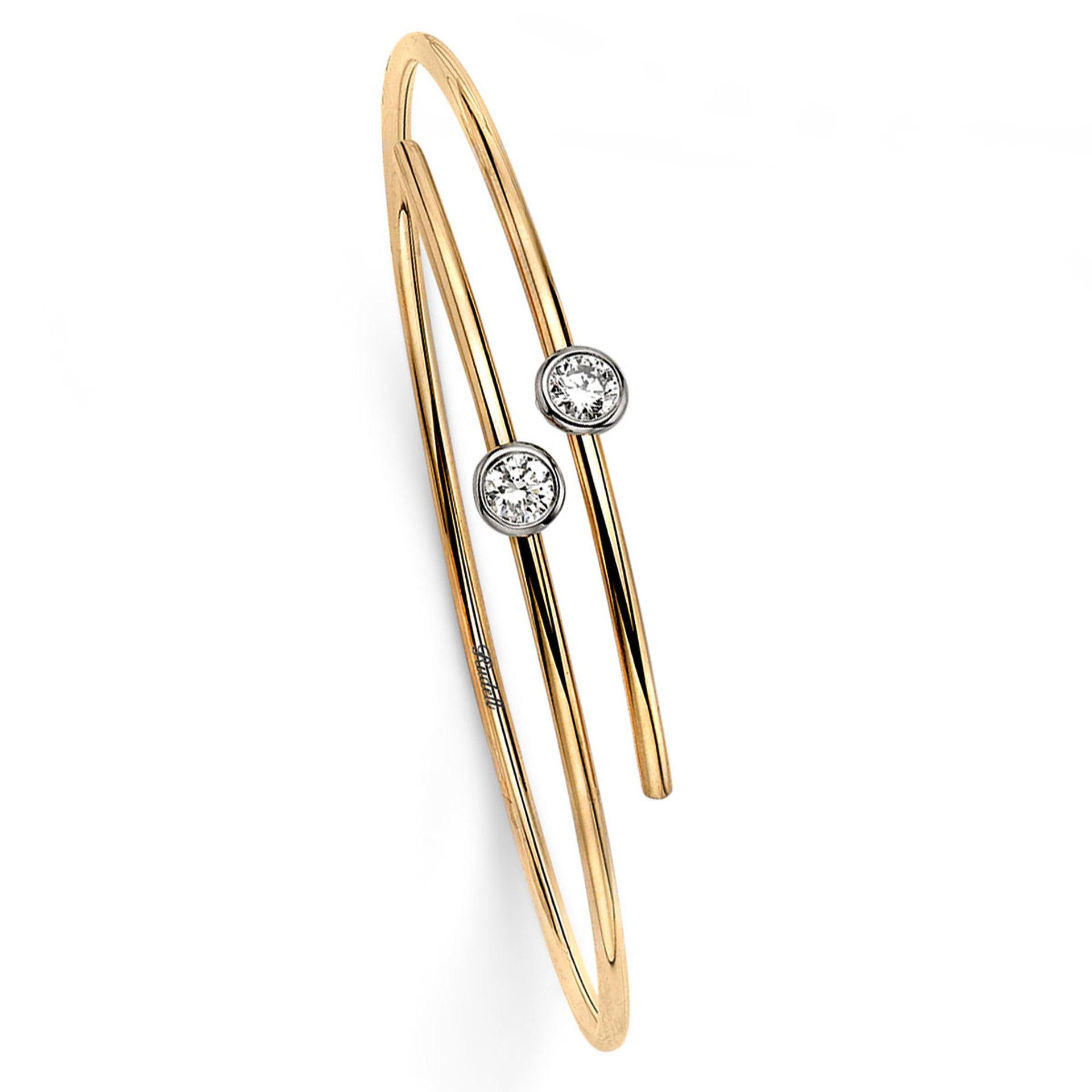 18ct Yellow Gold Diamond Set Modern Bangle