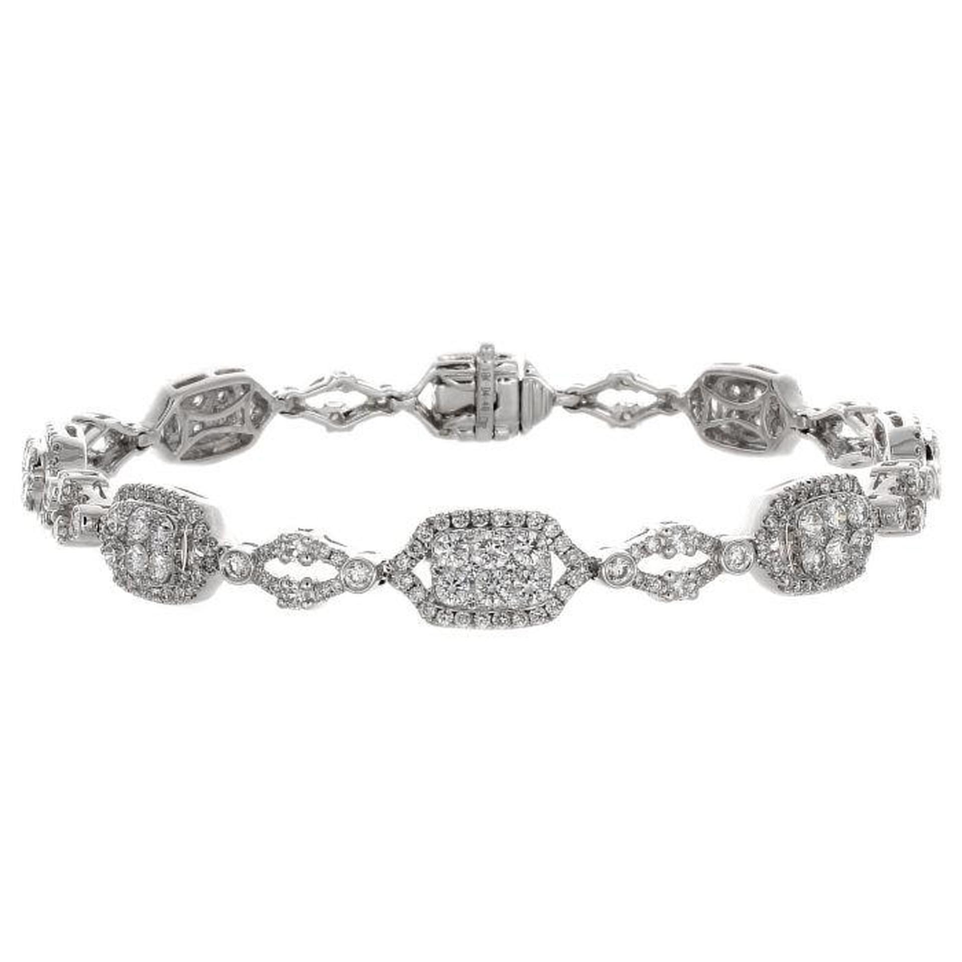 18ct White Gold Diamond Set Link Bracelet