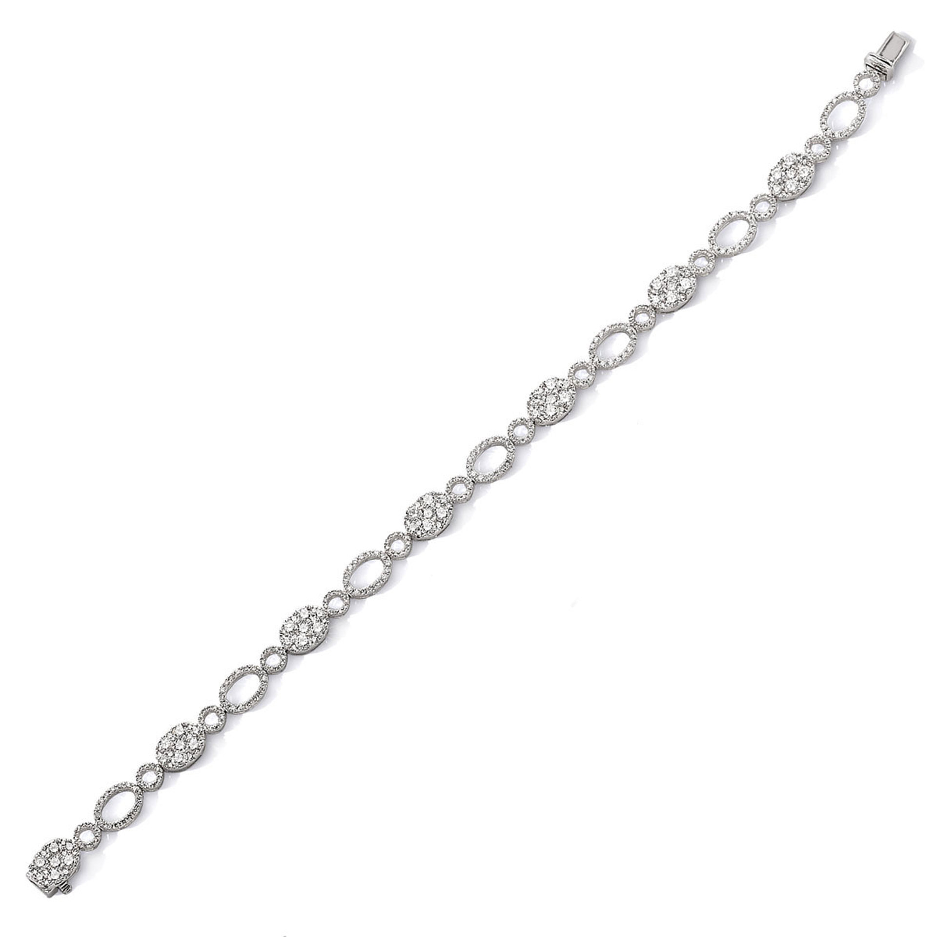 18ct white gold and diamond cluster bracelet