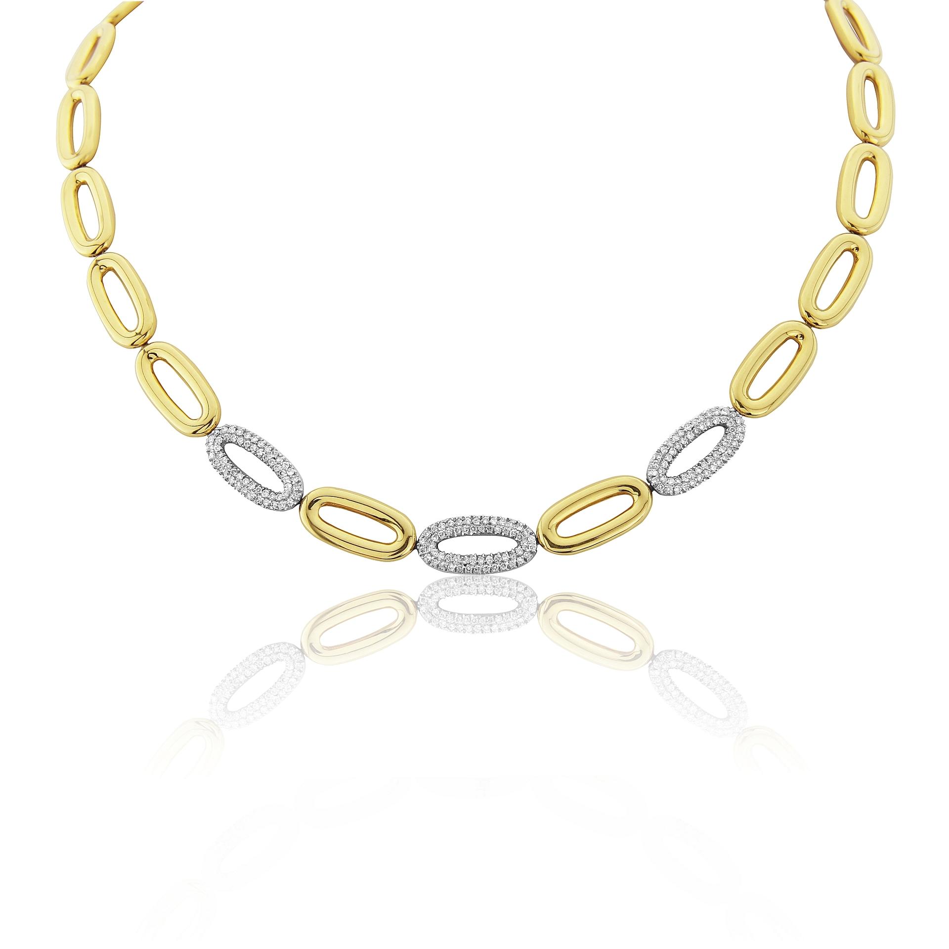 18ct Yellow Gold Oval Diamond Set Loop Necklet