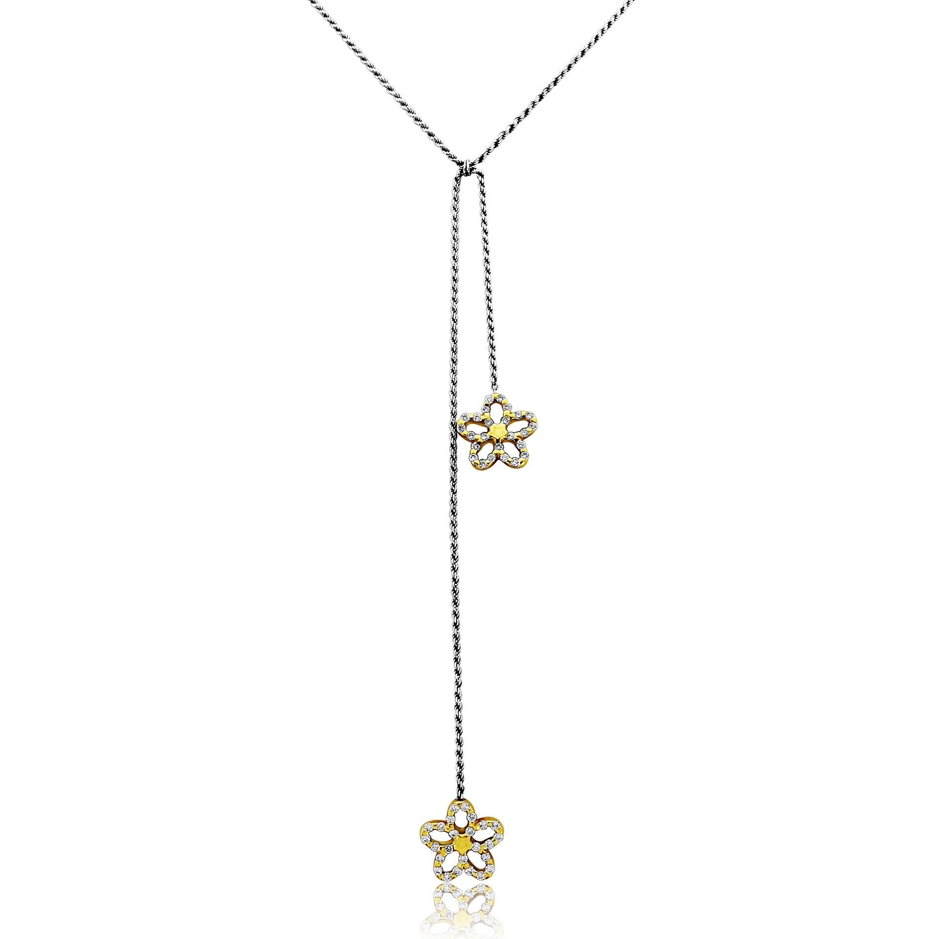 18ct White Gold Flower Necklet