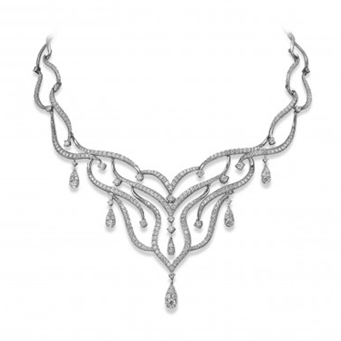 18ct White Gold Necklet with Diamond Detailing