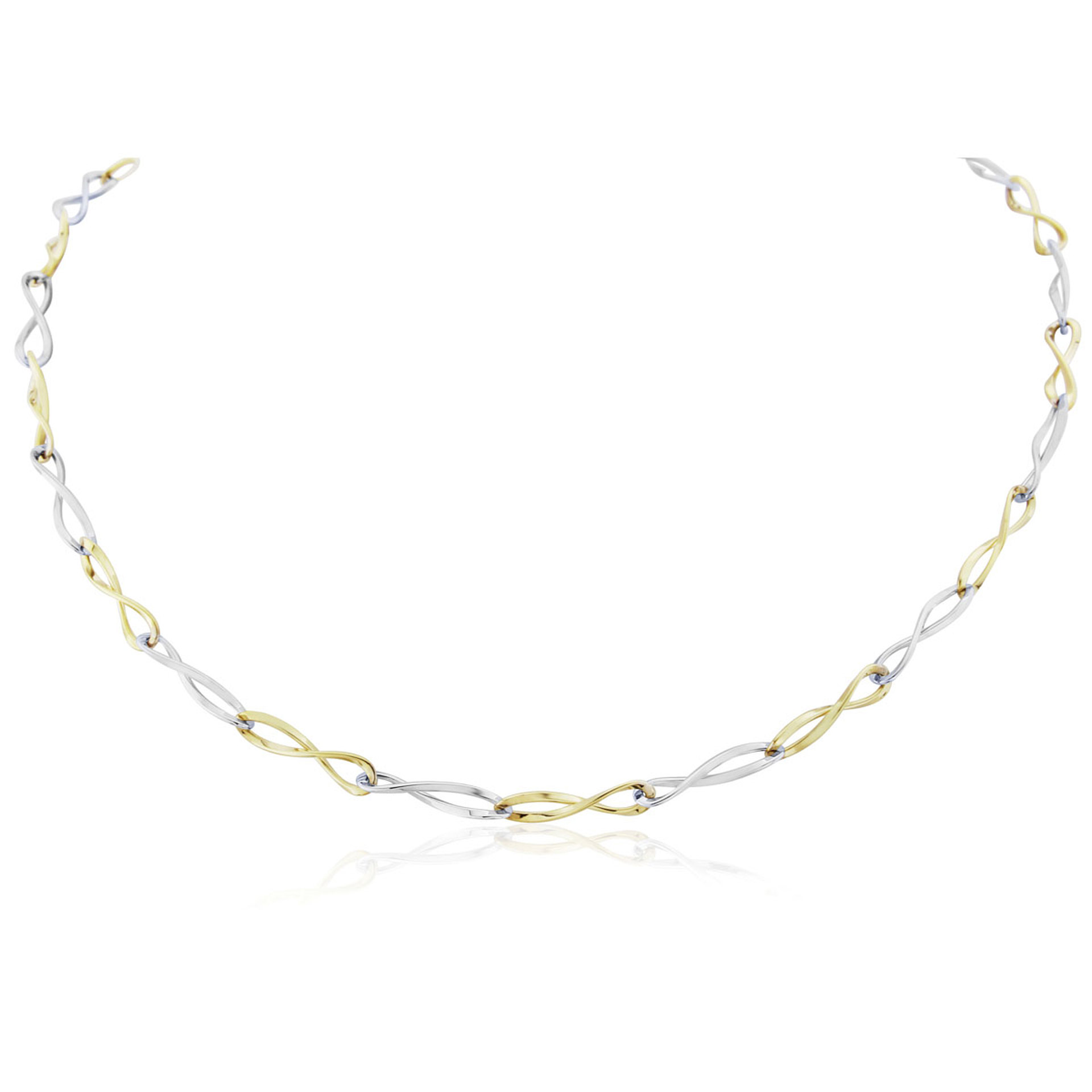 9ct White and Yellow Gold Twisted Link Necklet