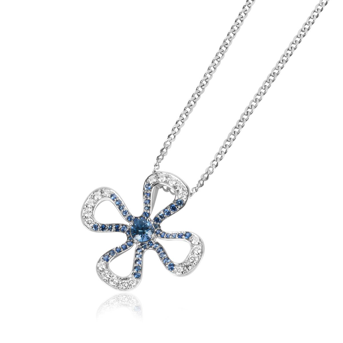 18ct White Gold Iolite, Sapphire and Diamond Pendant