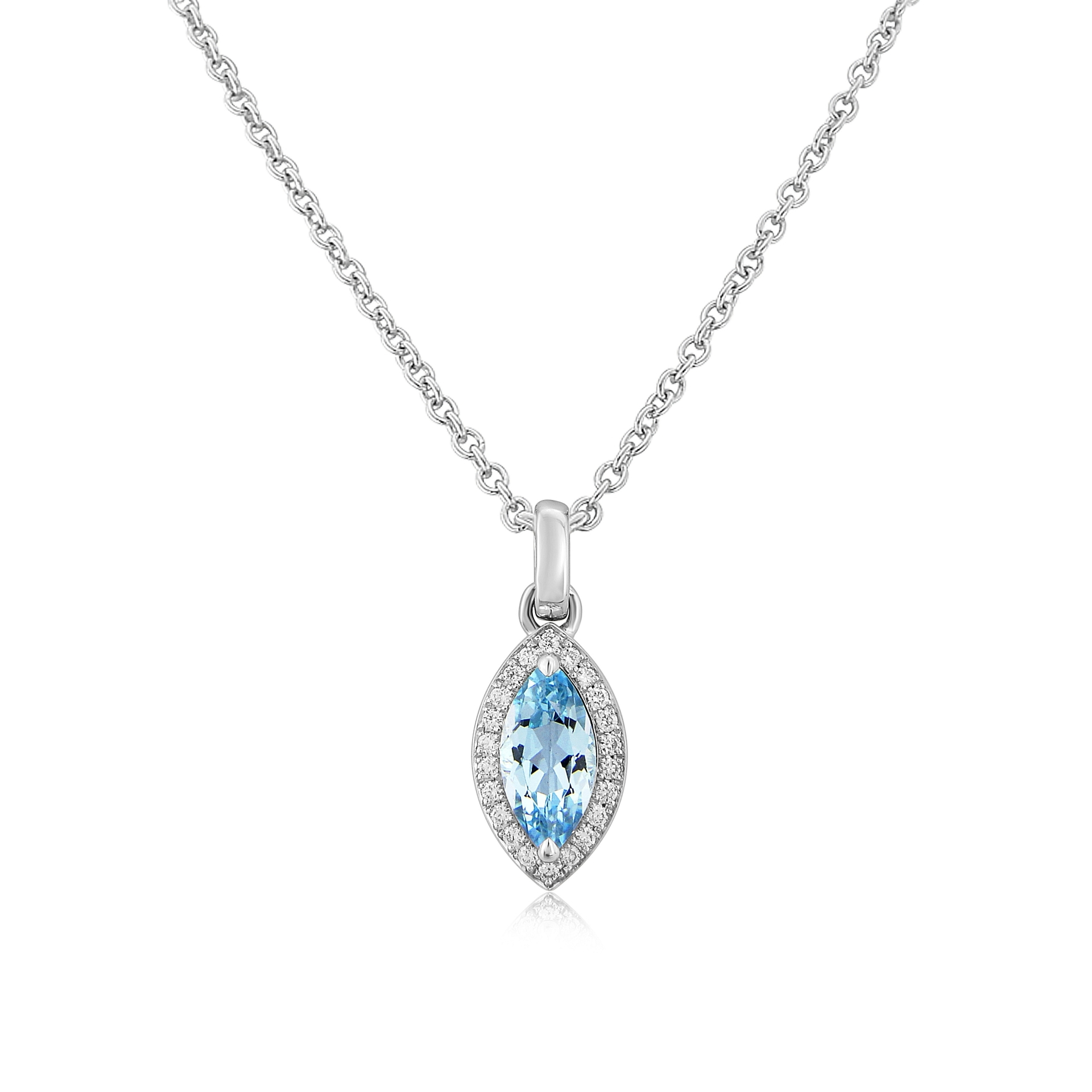 Twin Collection 9ct White Gold blue Topaz & Diamond Pendant