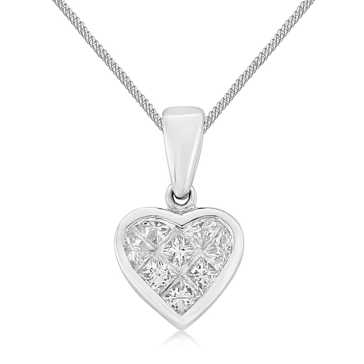18ct White Gold Princess Cut Diamond Heart Pendant