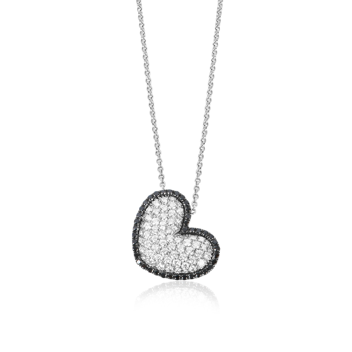 18ct White Gold Black and White Diamond Set Heart Pendant with Chain