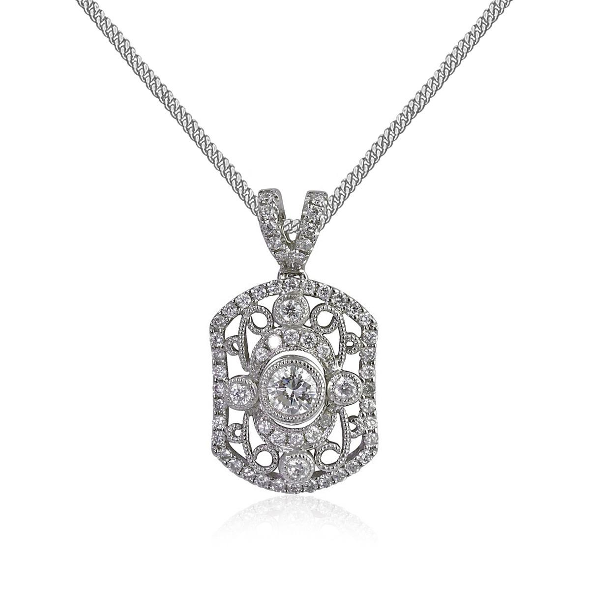 18ct White Gold Rectangular Diamond Pendant