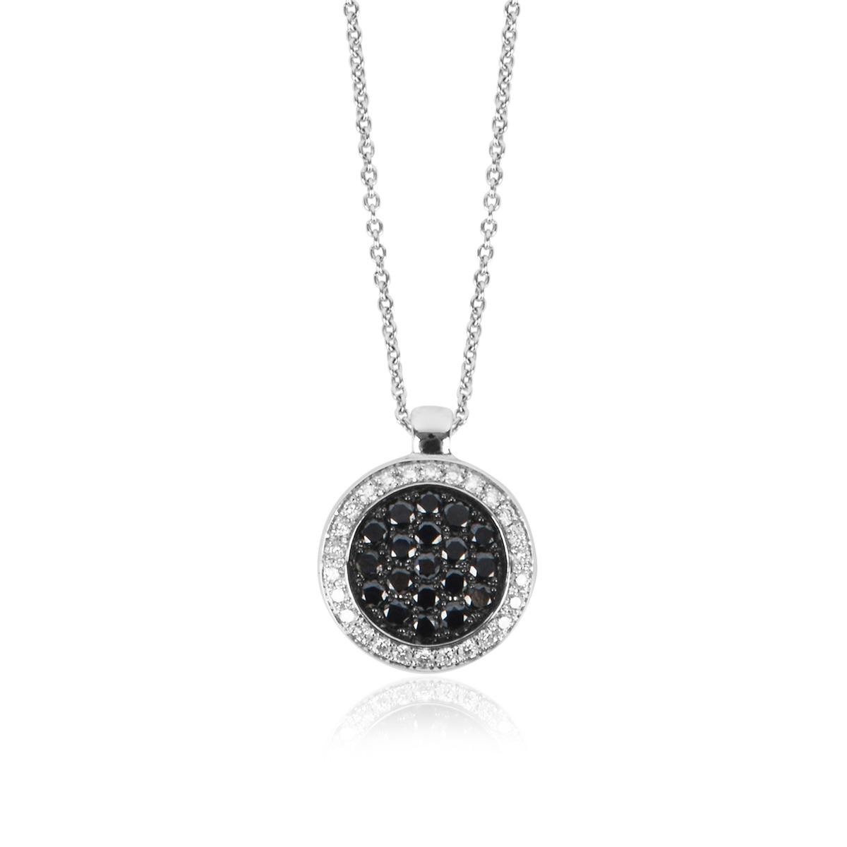 18ct White Gold Black and White Diamond Set Circle Pendant with Chain