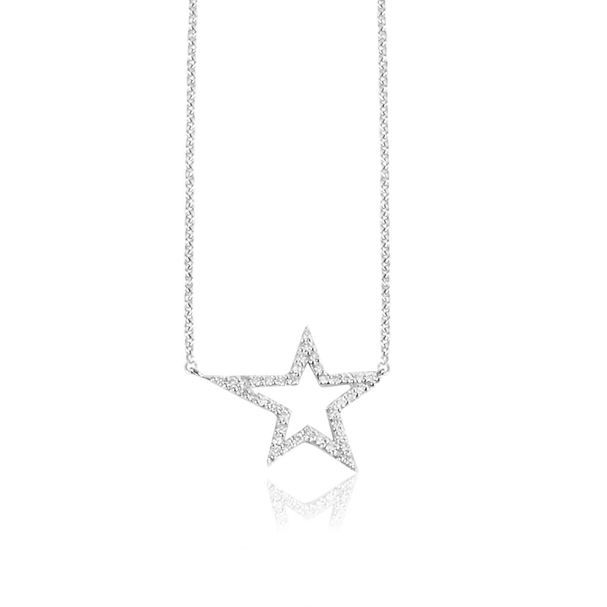 18ct White Gold Diamond Pavé Set Star Pendant with Chain