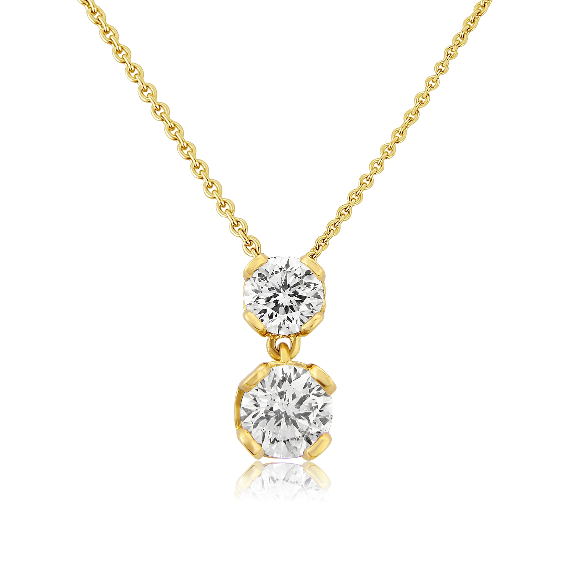 Signature Collection 18ct Yellow Gold Two Stone Diamond Set Pendant