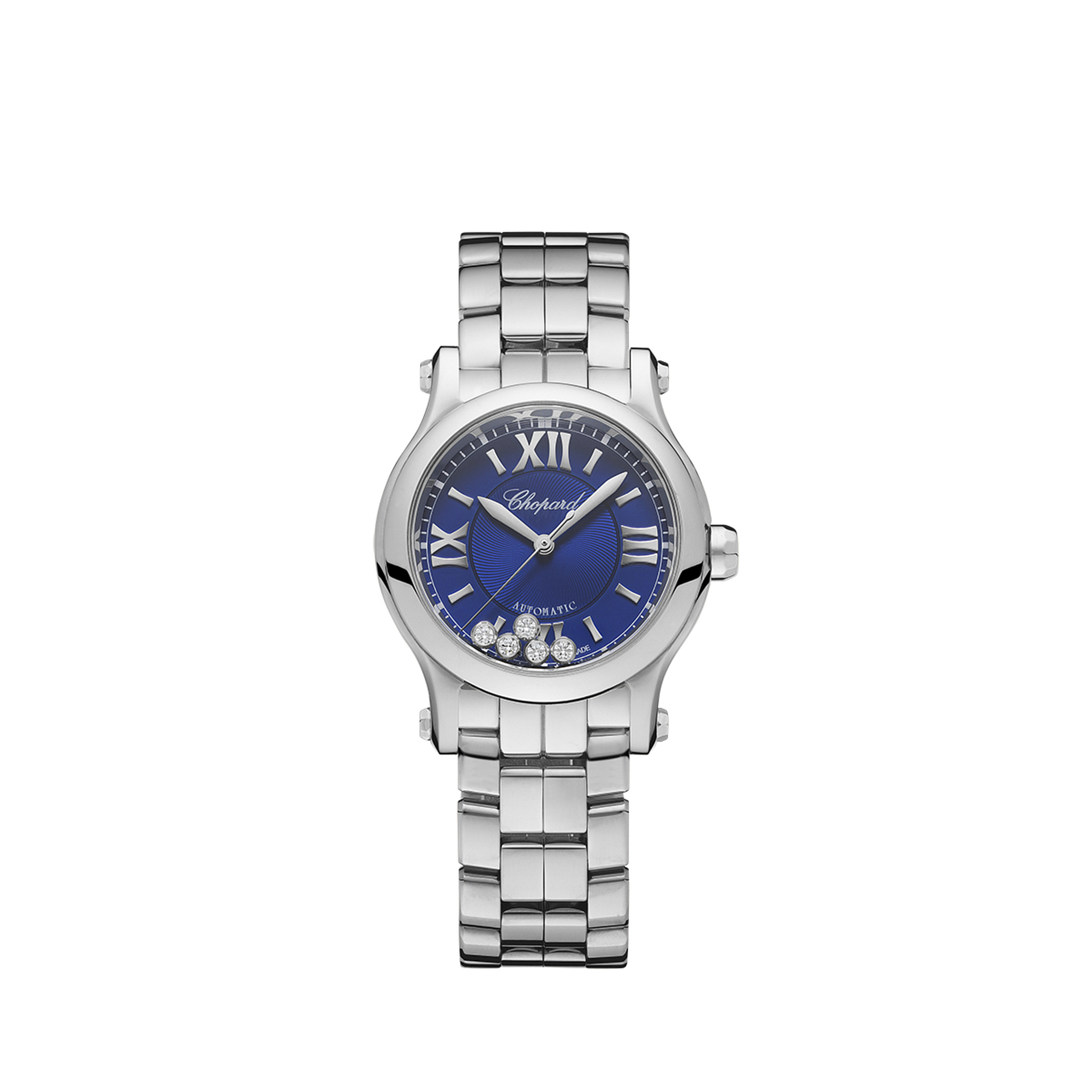 Chopard Ladies Happy Sport Watch. Blue 1/4 roman numeral dial with 5 diamonds.