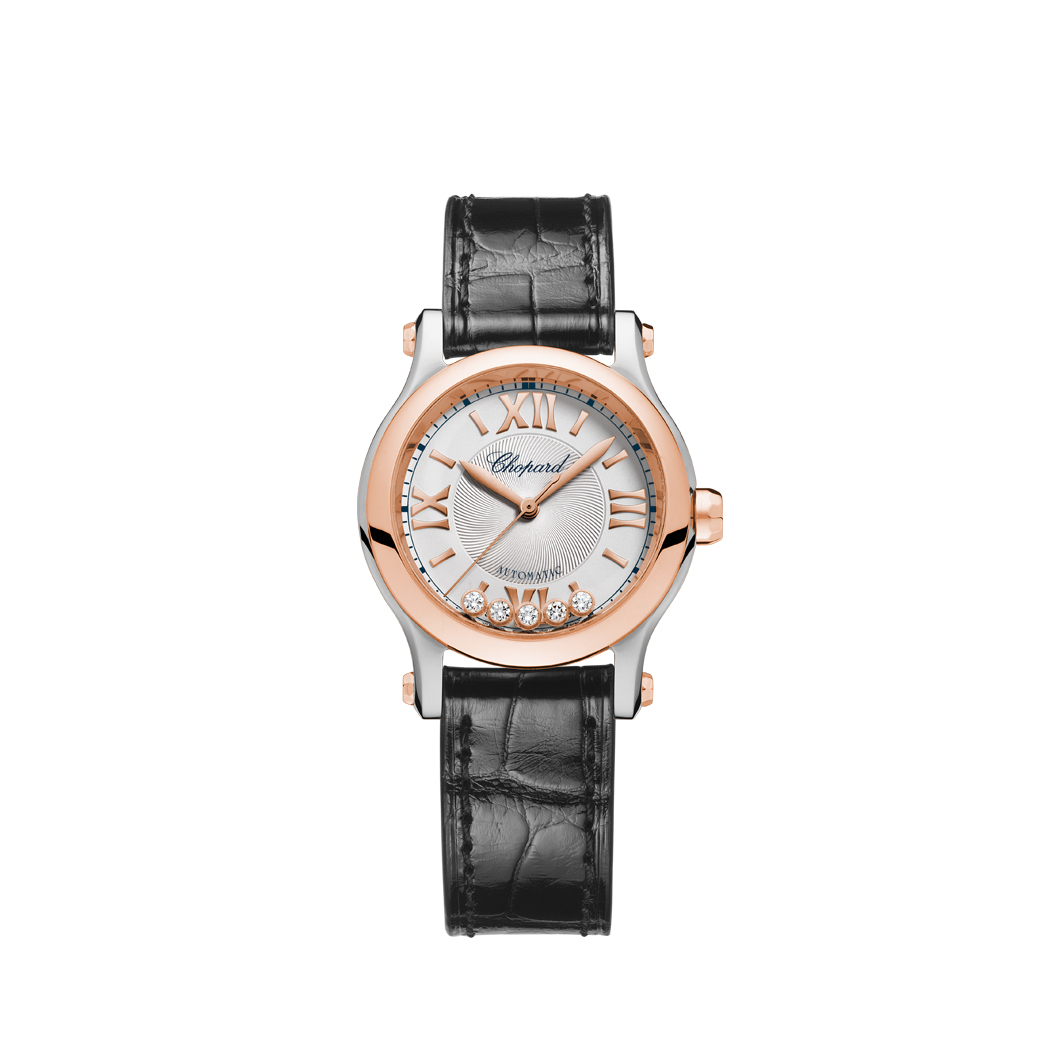 Chopard Ladies Steel and Rose Happy Sport. 1/4 Roman numeral dial 5 diamonds.