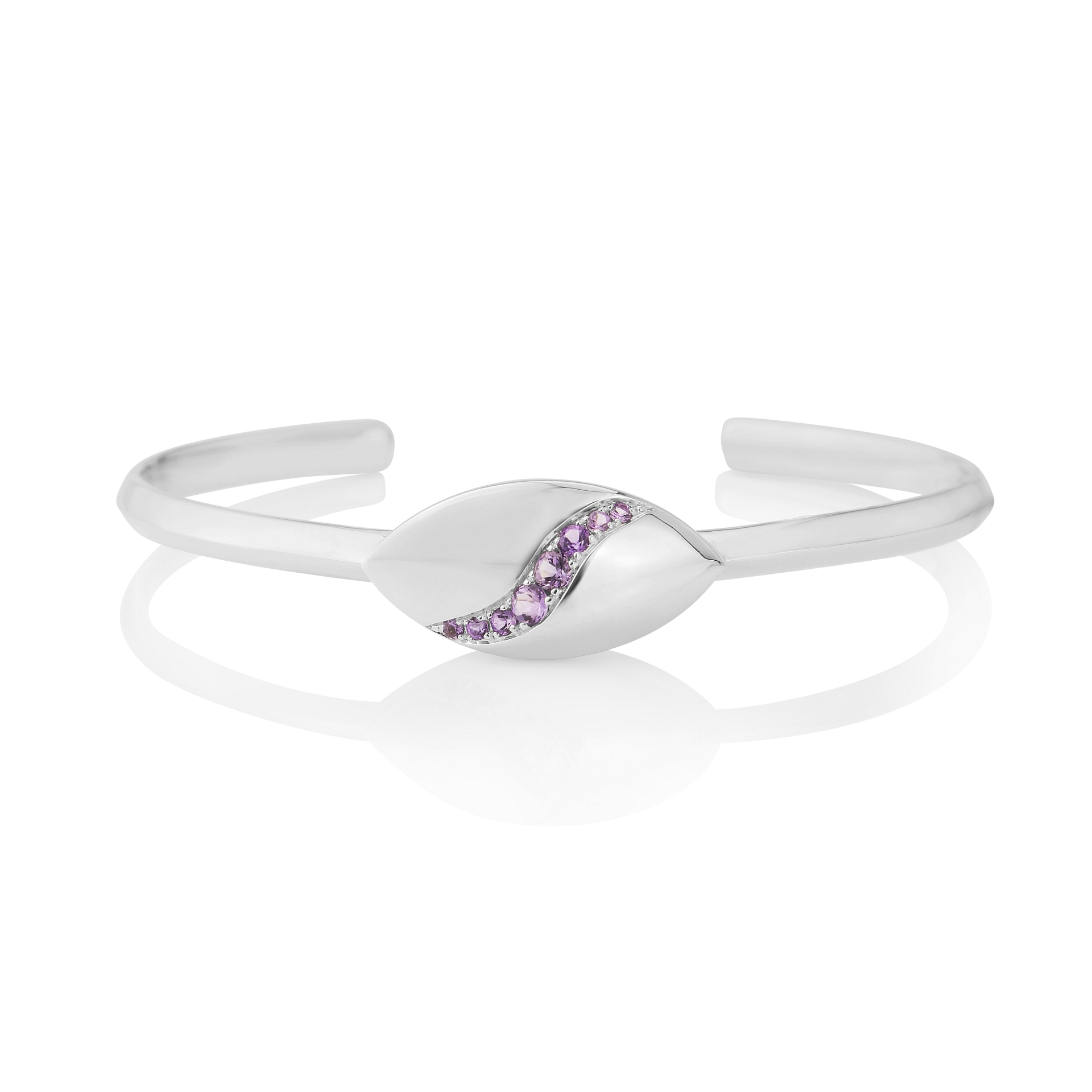Rudells Dune Silver and Amethyst Bangle