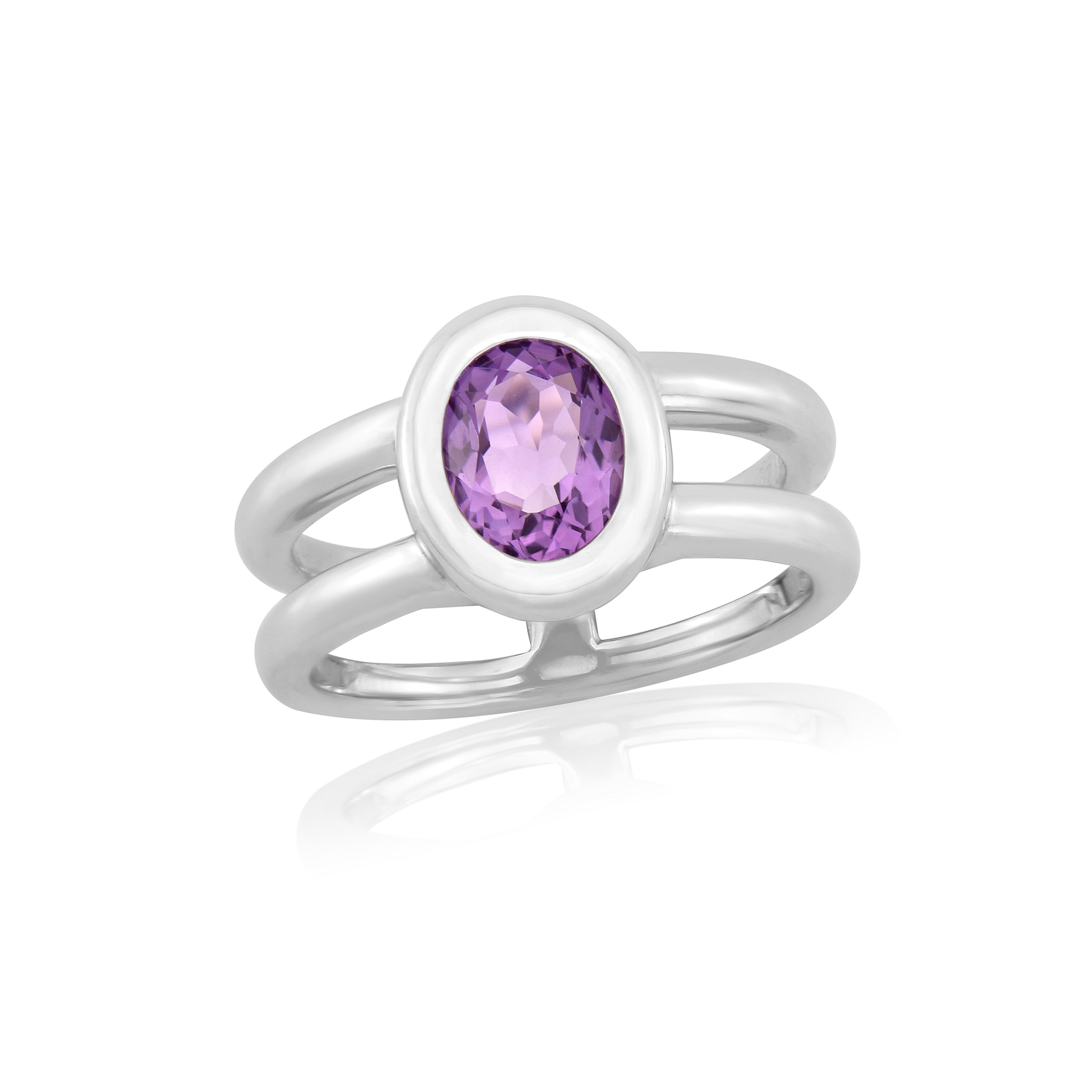 Twin collection Oval Cut Amethyst and Silver Ring
