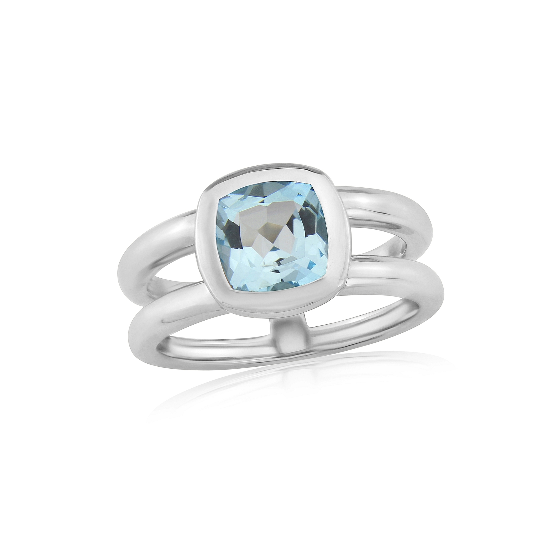 Twin collection Cushion Cut Blue Topaz and Silver Ring