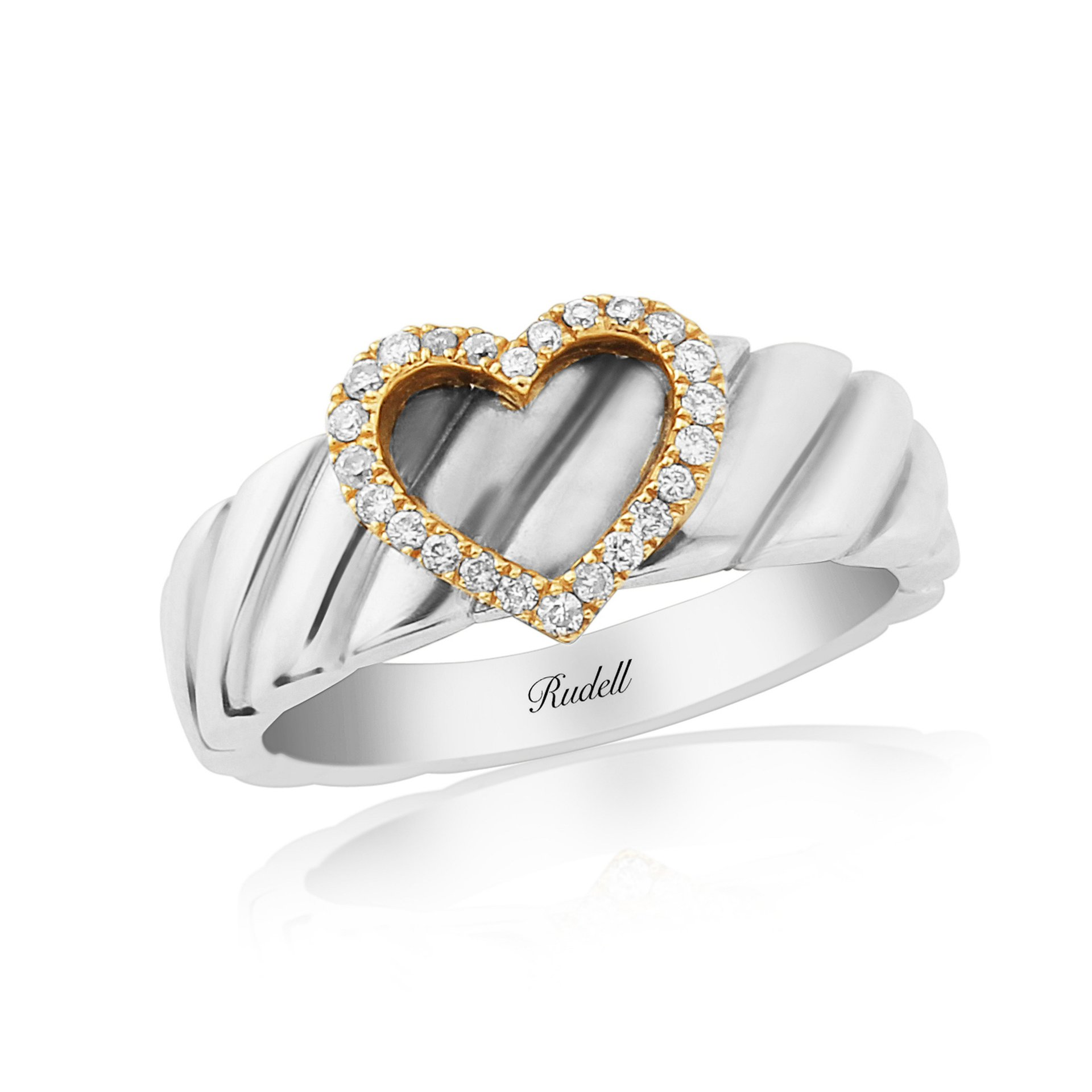 Silver and 18ct Rose Gold Heart Ring