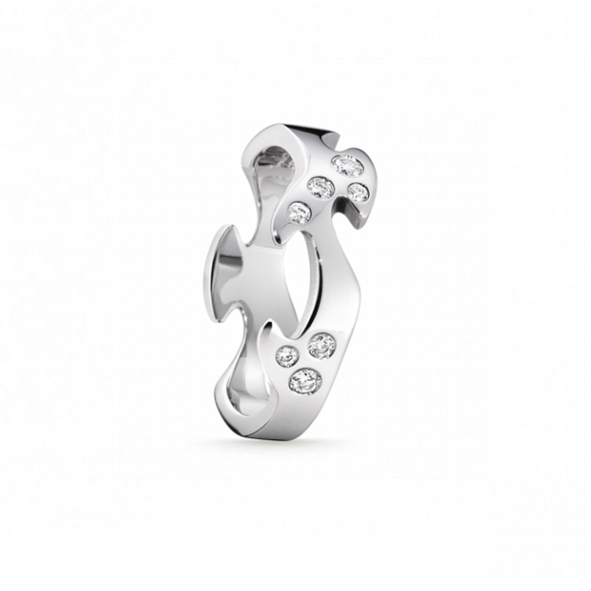18ct White Gold Diamond Set Fusion Centre Ring
