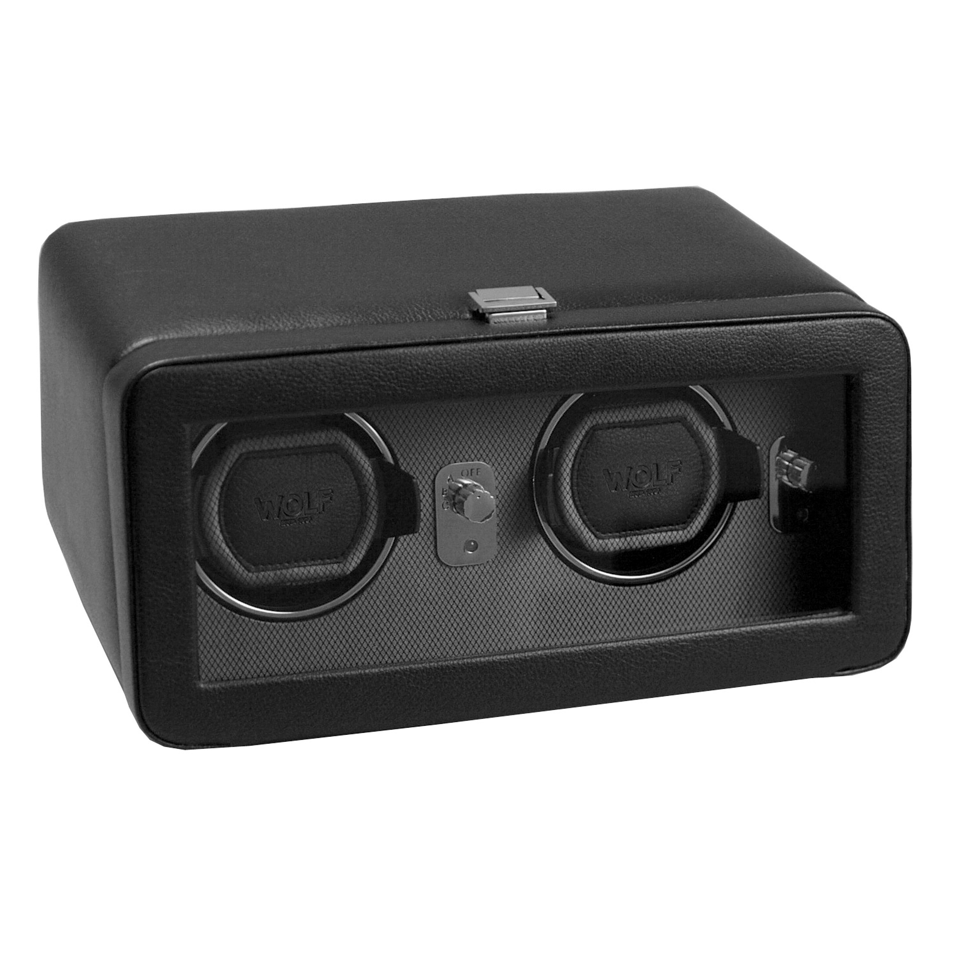 WOLF Windsor Double Black Travel Watch Winder Module 2.5 with Cover