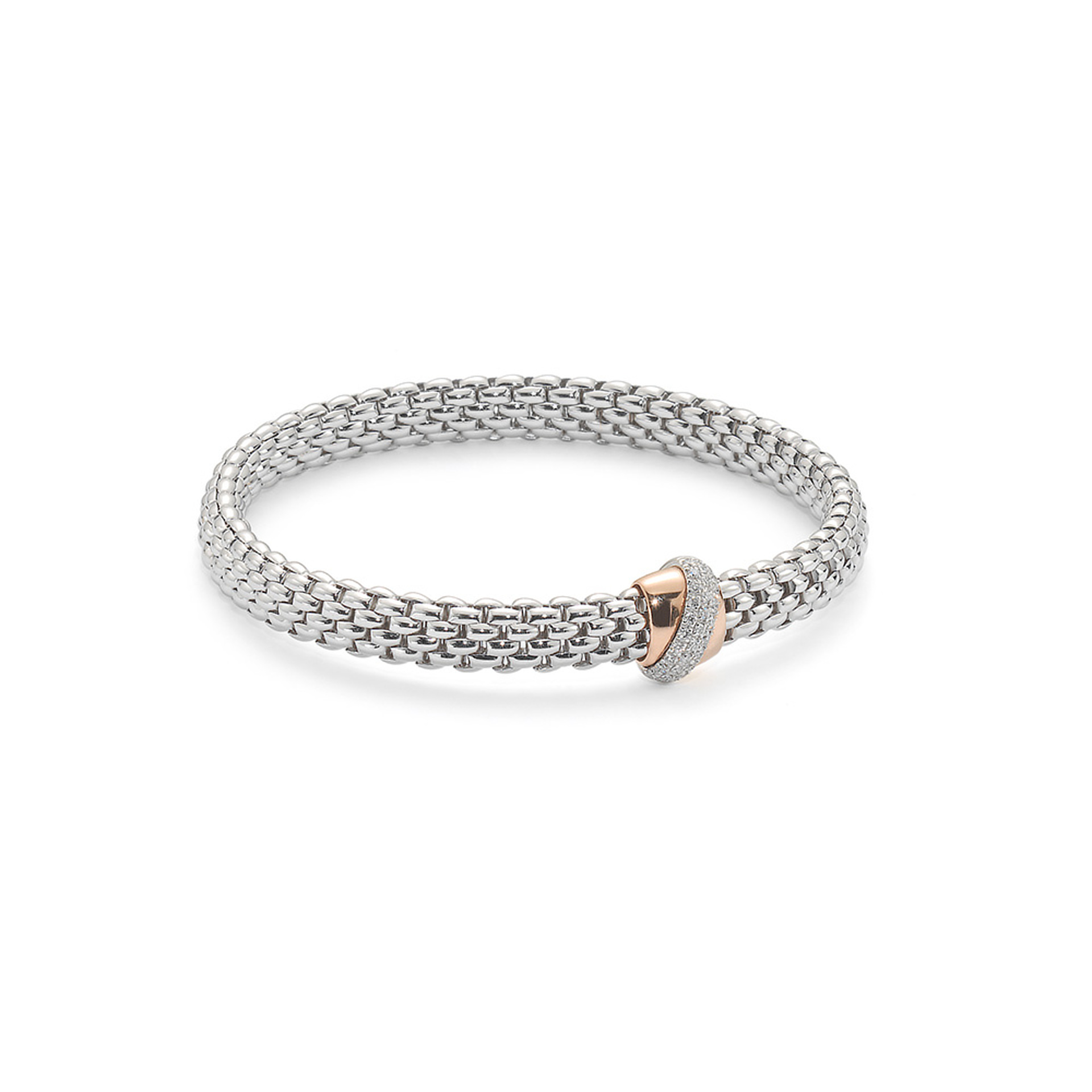 FOPE 18ct White Gold Bracelet Flex'it Vendome with Rose Gold Pave Diamond Set Rondel
