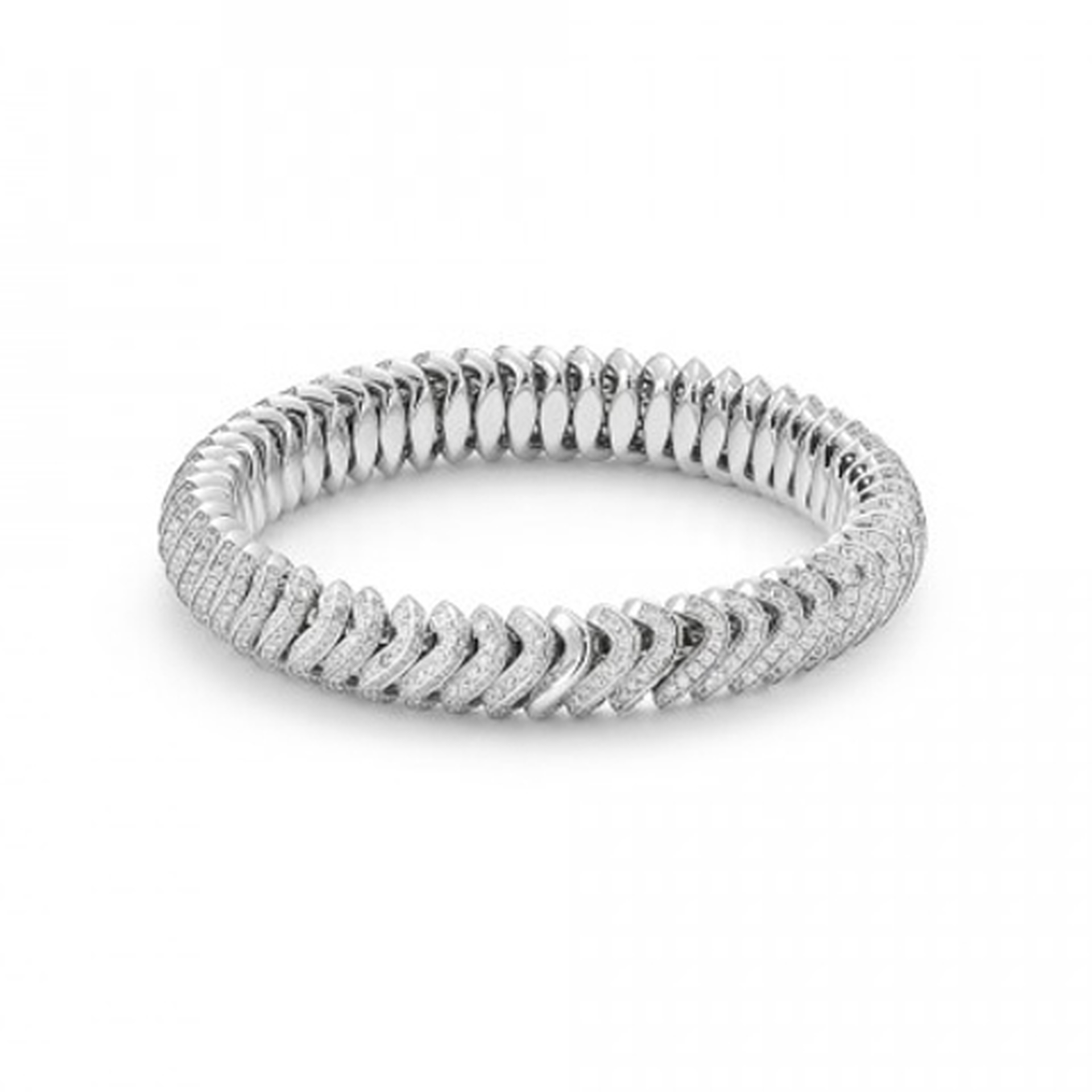 Fope 18ct White Gold Flex'It Full Vendome Diamond Bracelet