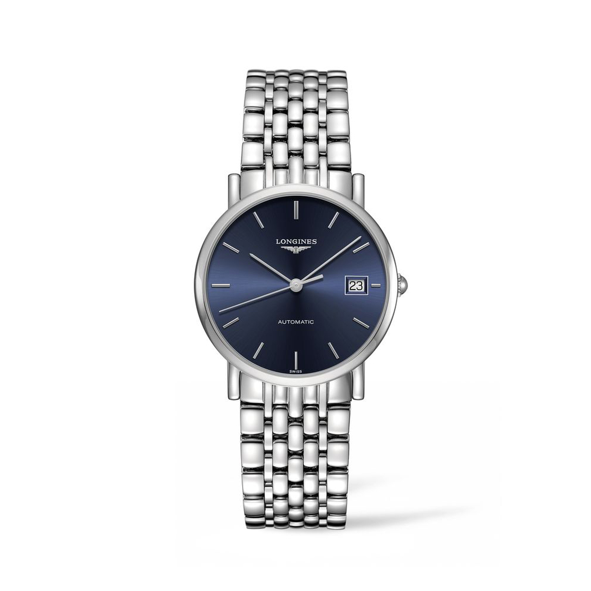 Longines Elegant 34.5mm blue baton dial with date at 3 on bracelet