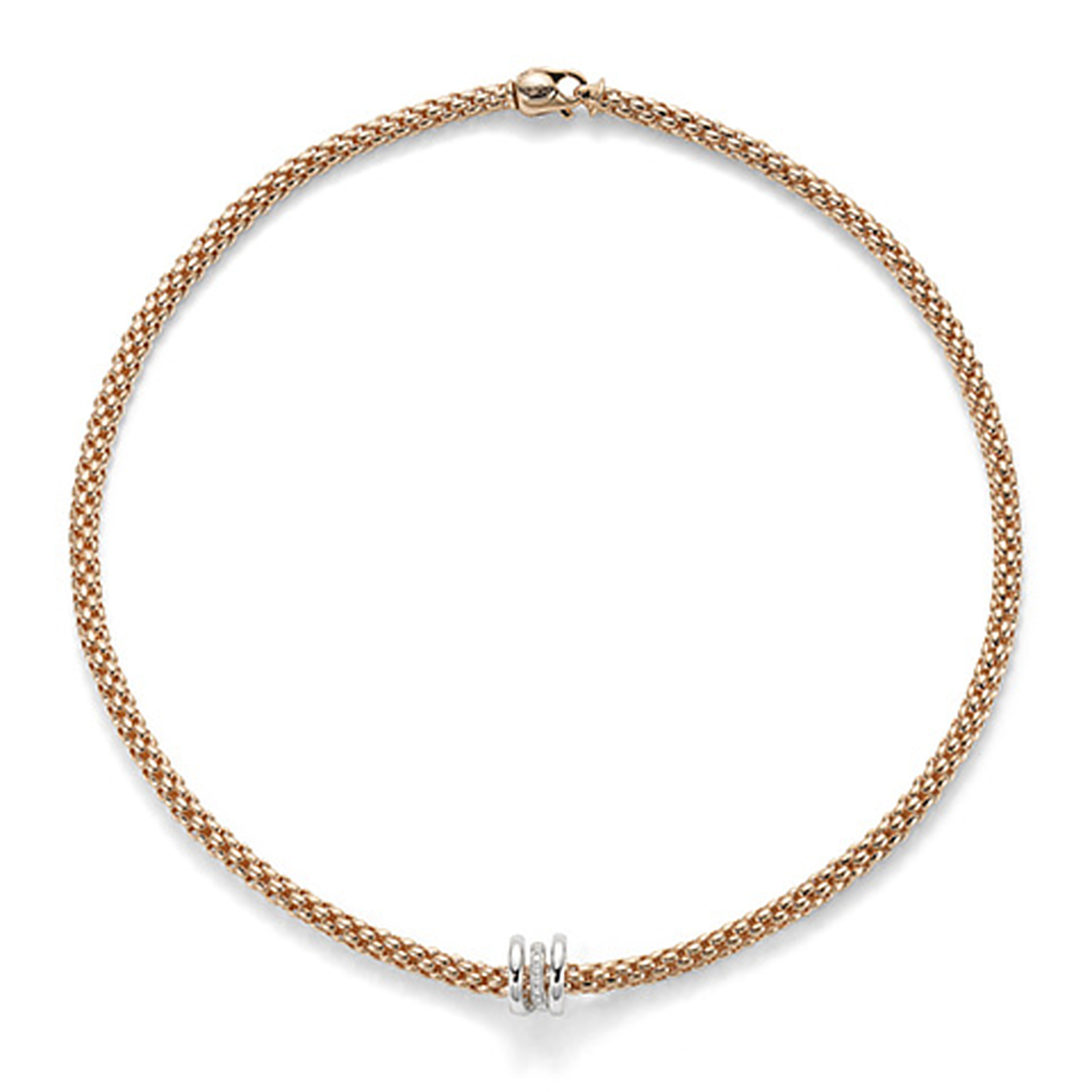 Fope 18ct Rose Gold Flex'It Solo Diamond Necklet