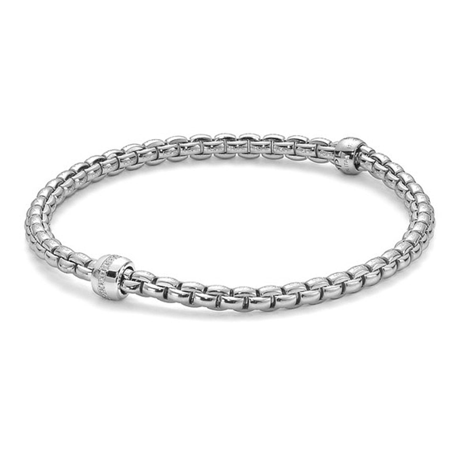 FOPE Bracelet 18ct White Gold Eka Tiny with 1 Row Diamonds