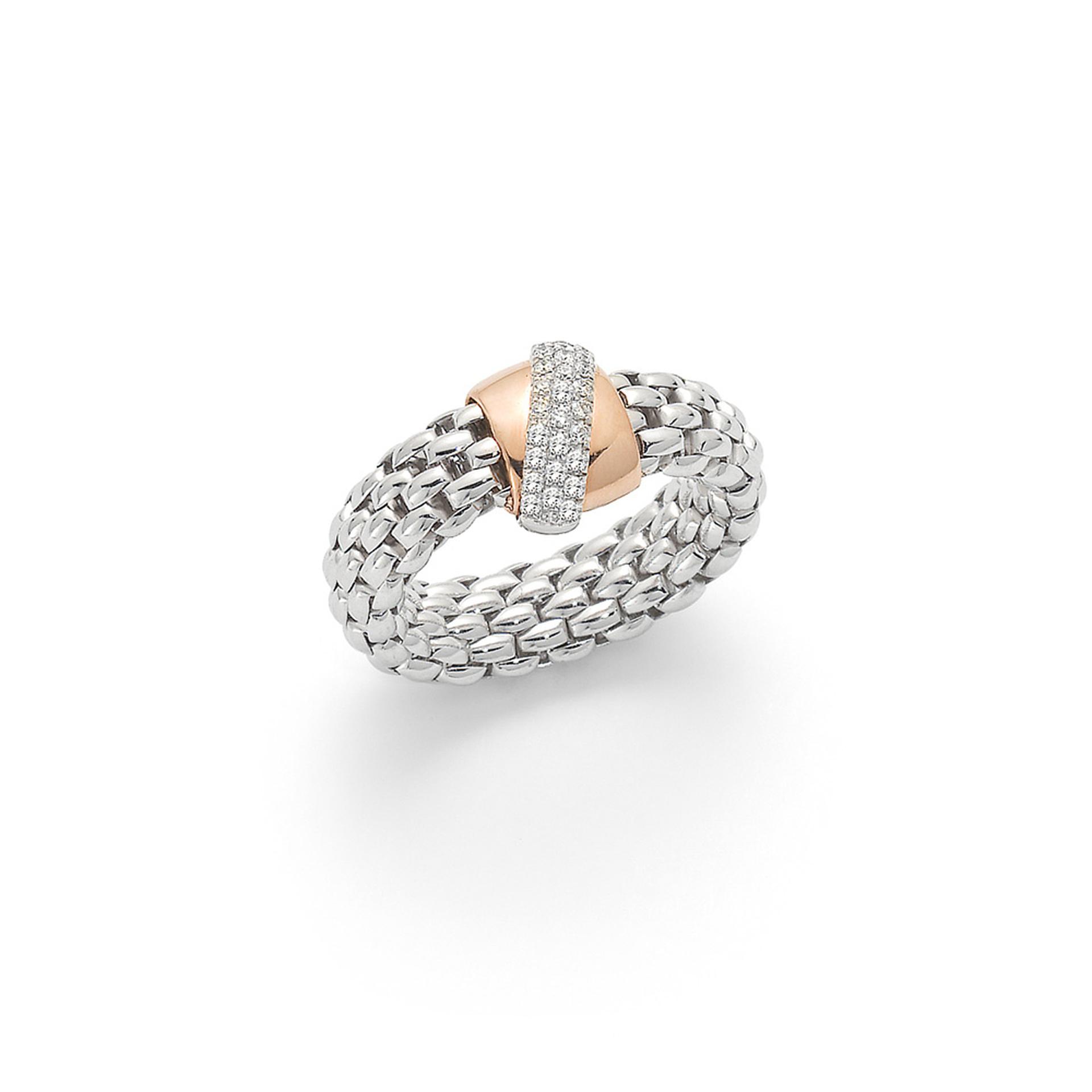 FOPE 18ct White and Rose Gold Flex'it Vendome Diamond Pave Set Ring