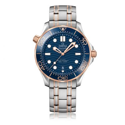 Omega Stainless steel and Rose 42mm Seamaster automatic blue wave dial-bezel on bracelet